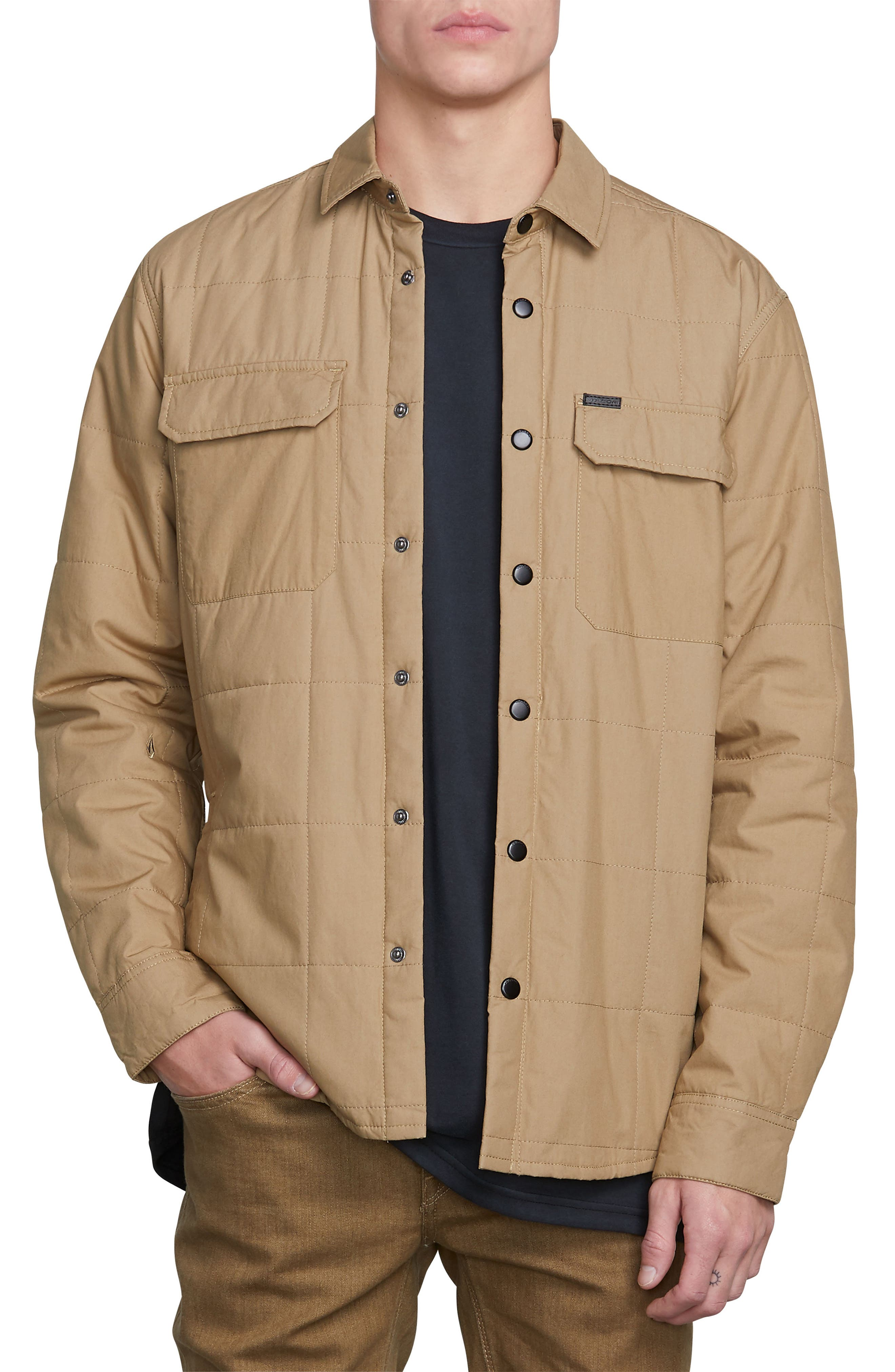 Larkin Quilted Shirt Jacket,                             Main thumbnail 1, color,                             BROWN SAND