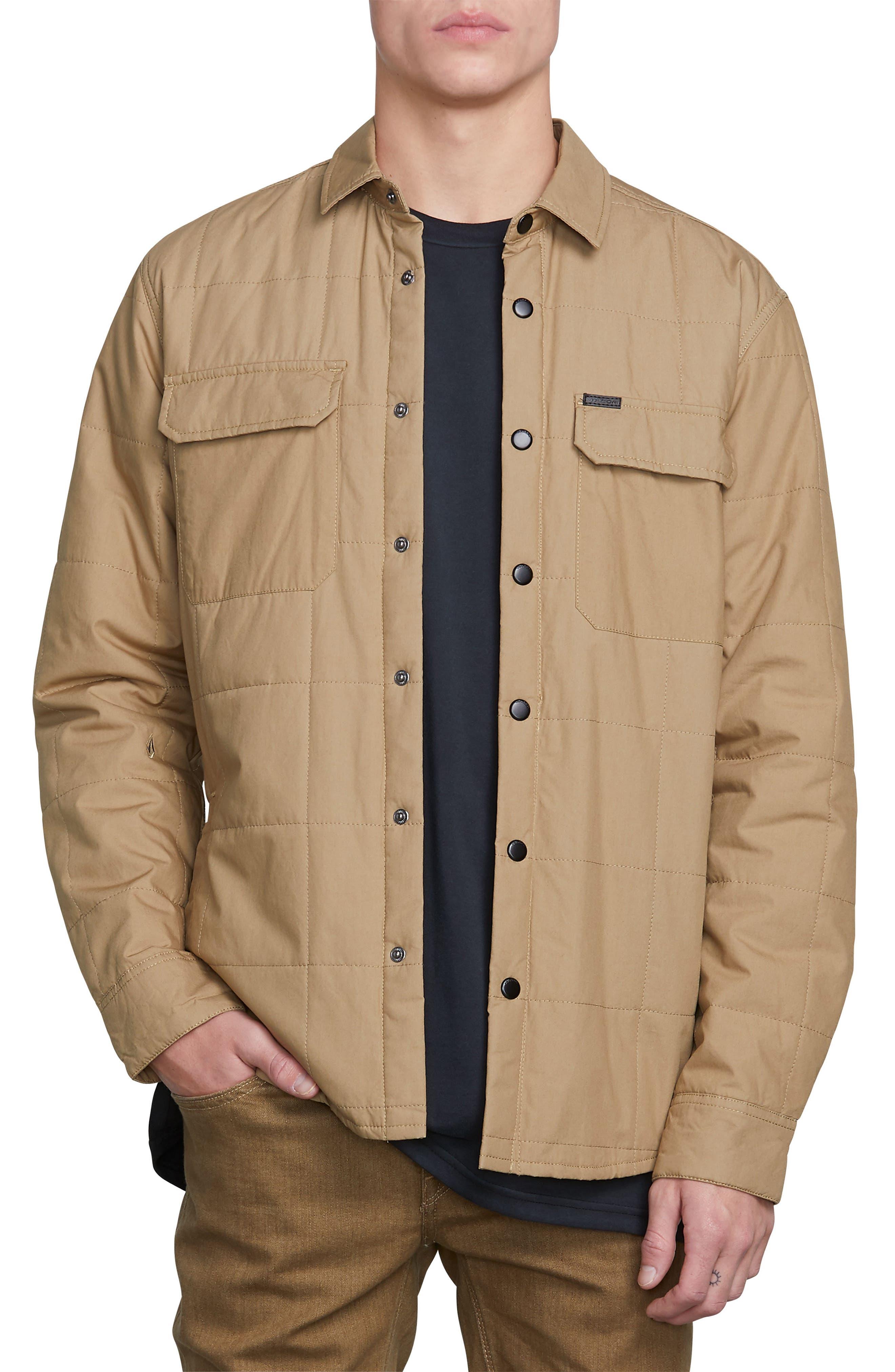 Larkin Quilted Shirt Jacket,                         Main,                         color, BROWN SAND