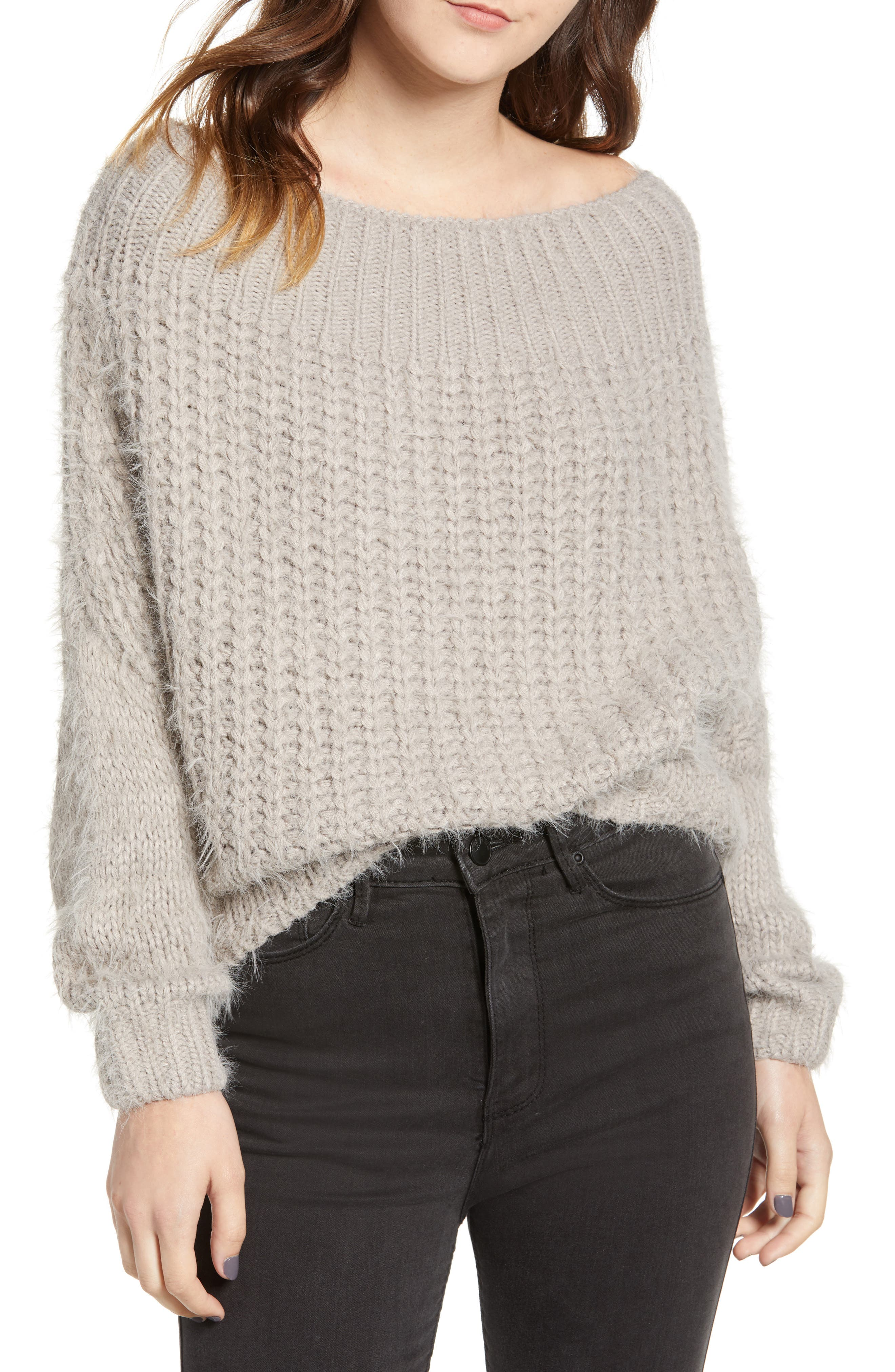 DREAMERS BY DEBUT Boatneck Knit Pullover, Main, color, MICRO GREY