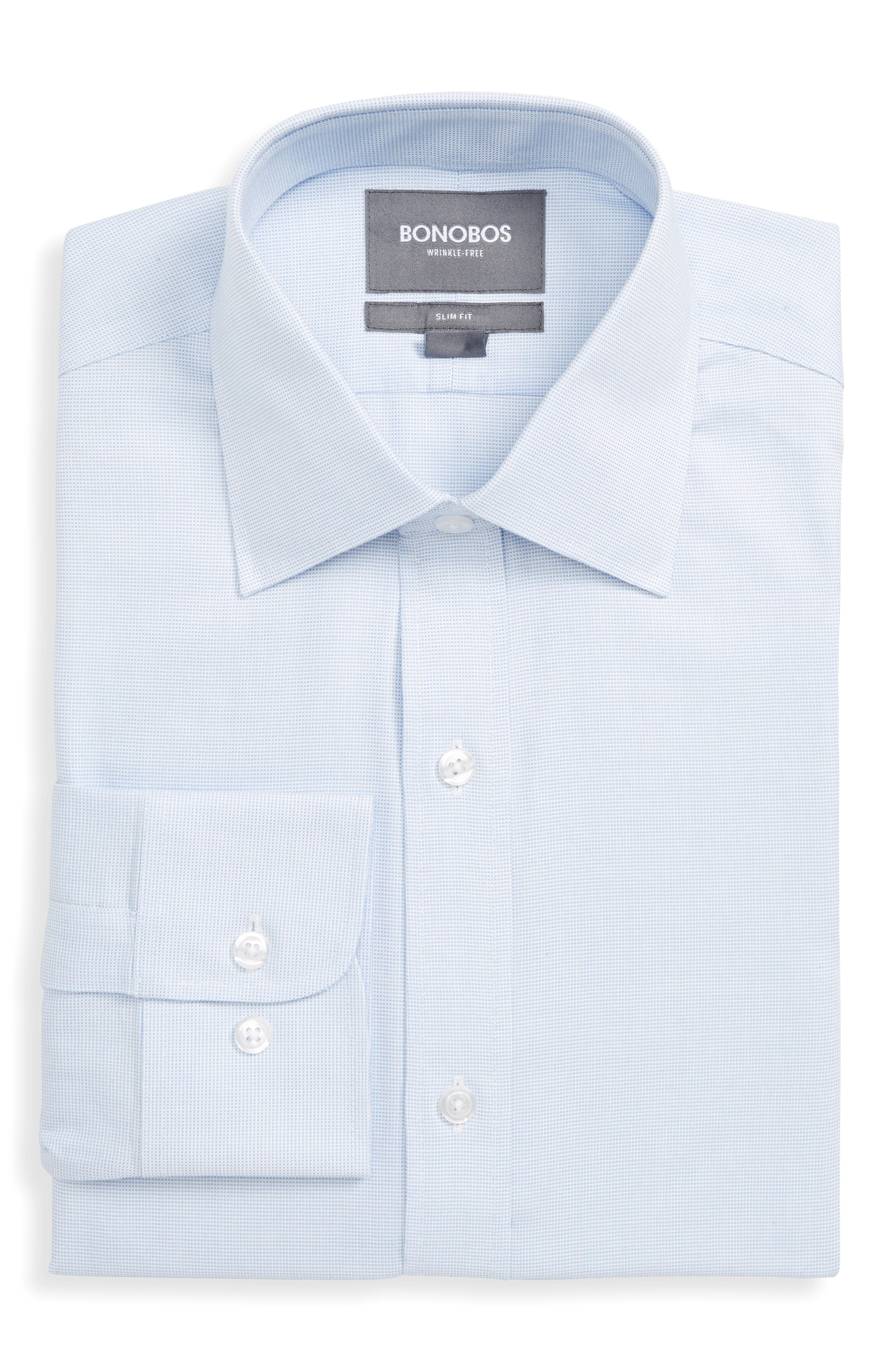 Bonobos Daily Grind Slim Fit Solid Dress Shirt, Blue
