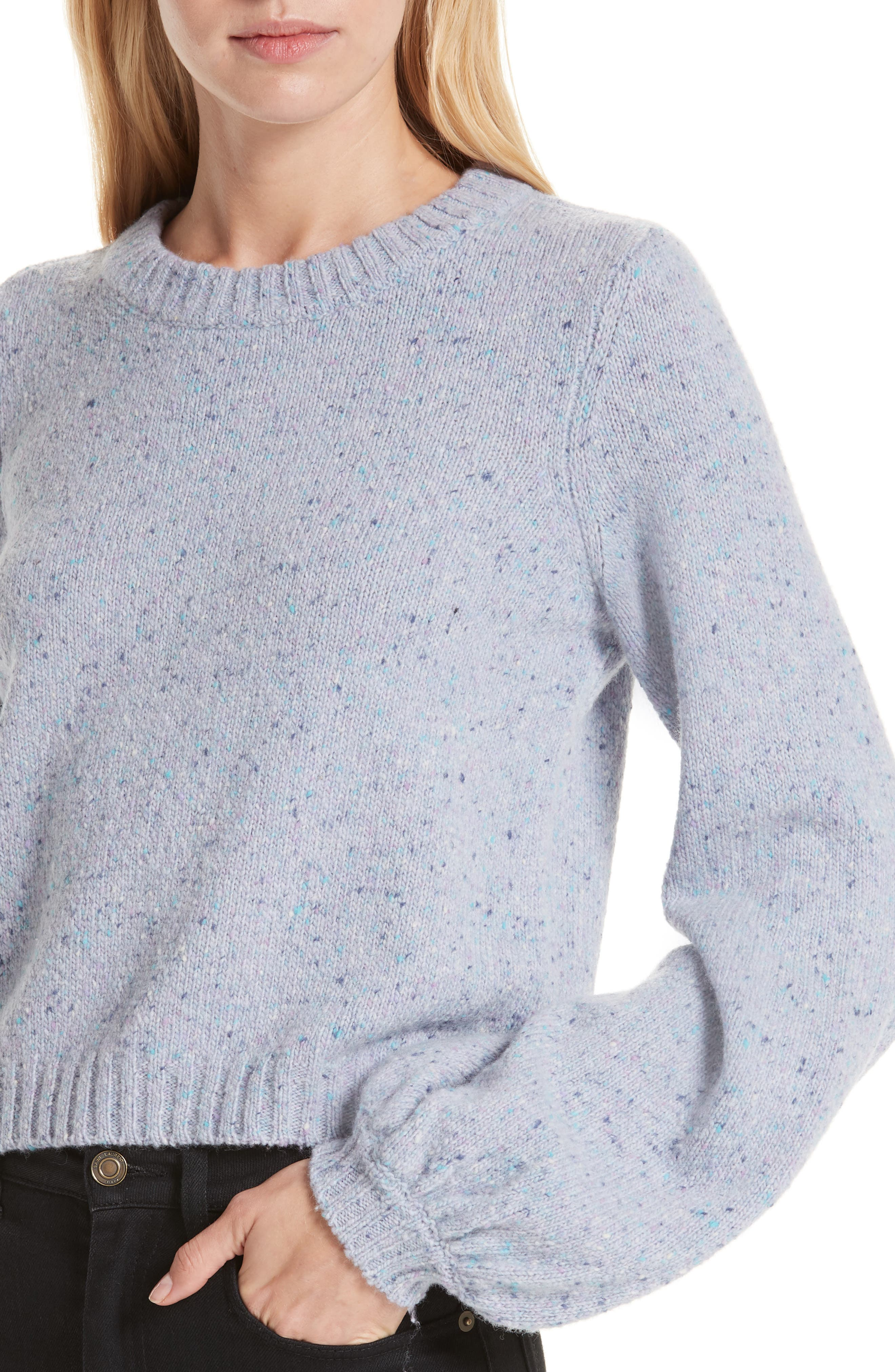 Bell Sleeve Wool Blend Sweater,                             Alternate thumbnail 4, color,                             BABY BLUE