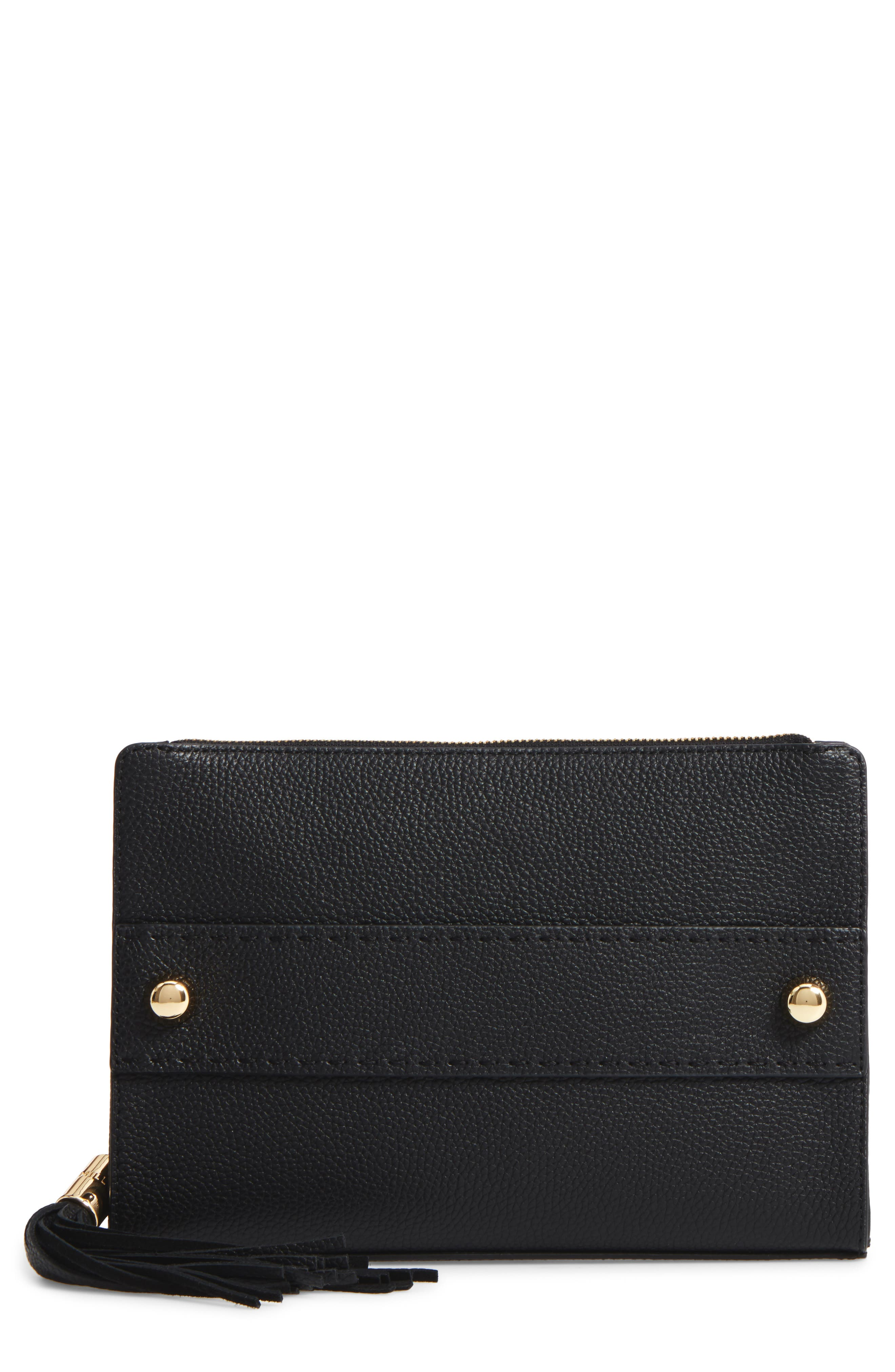 Astor Leather Clutch,                             Main thumbnail 1, color,                             001