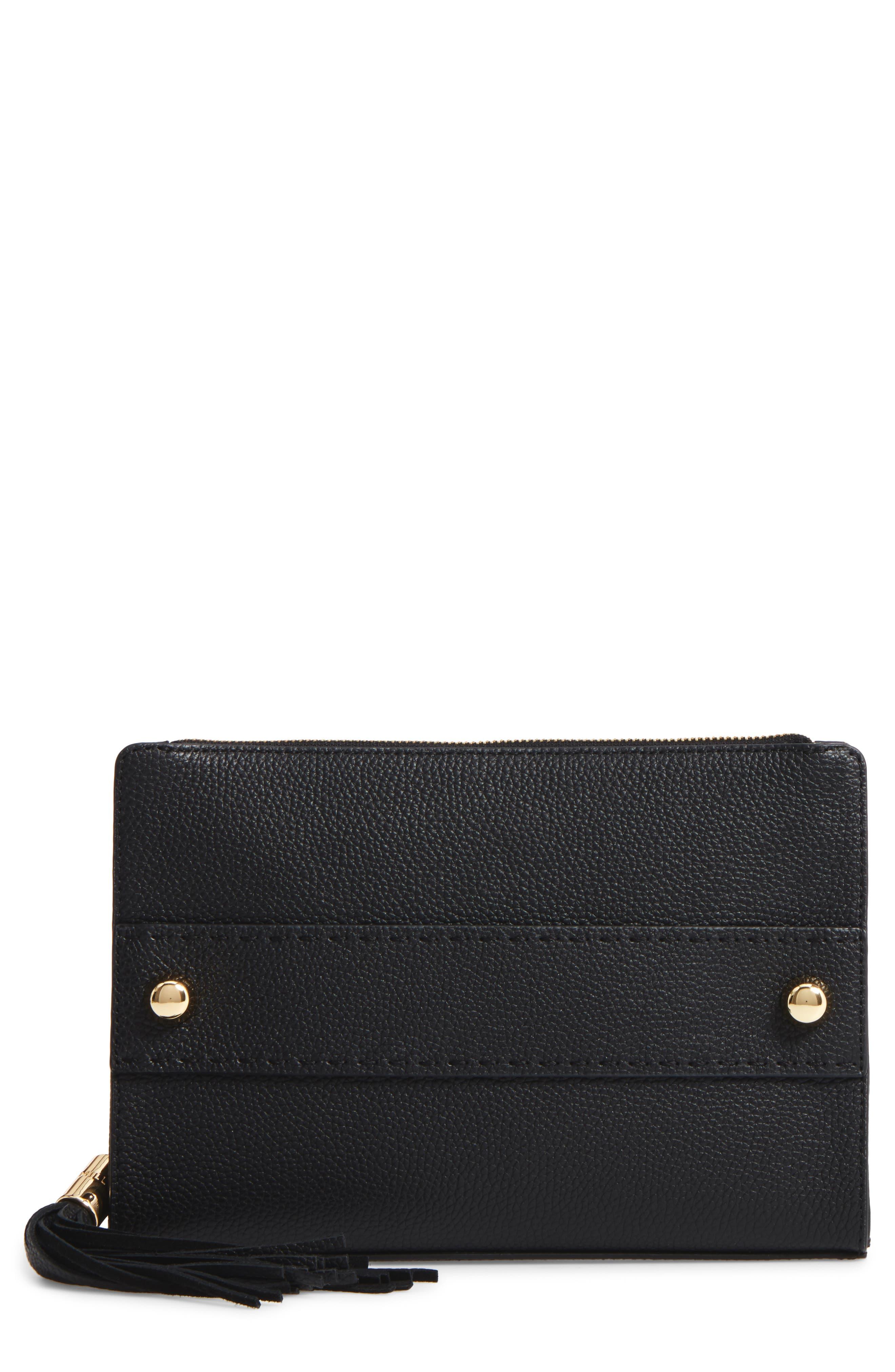 Astor Leather Clutch,                         Main,                         color, 001