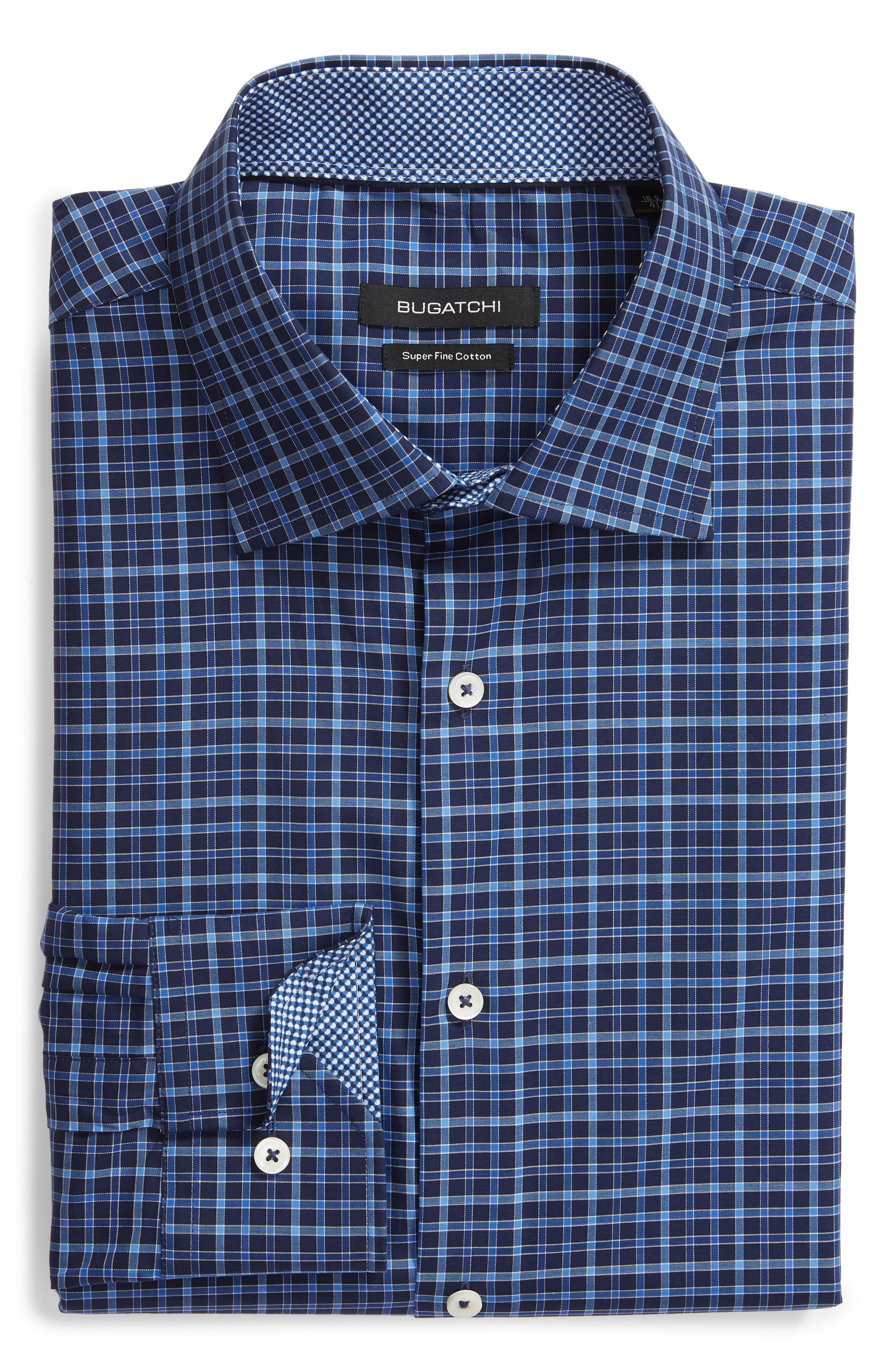 Trim Fit Check Dress Shirt,                             Alternate thumbnail 5, color,                             MIDNIGHT