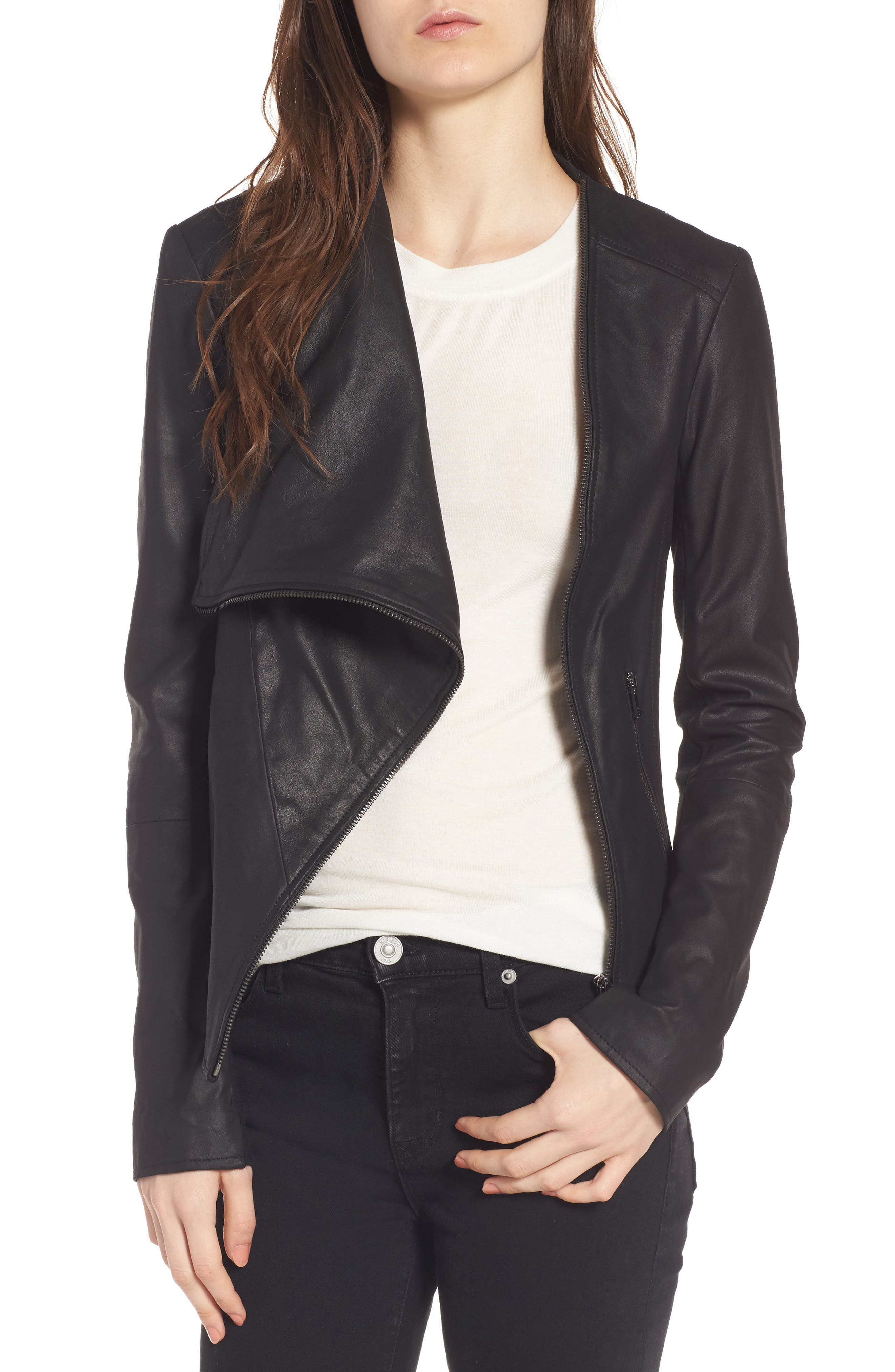 Cascade Leather Jacket,                         Main,                         color, 001
