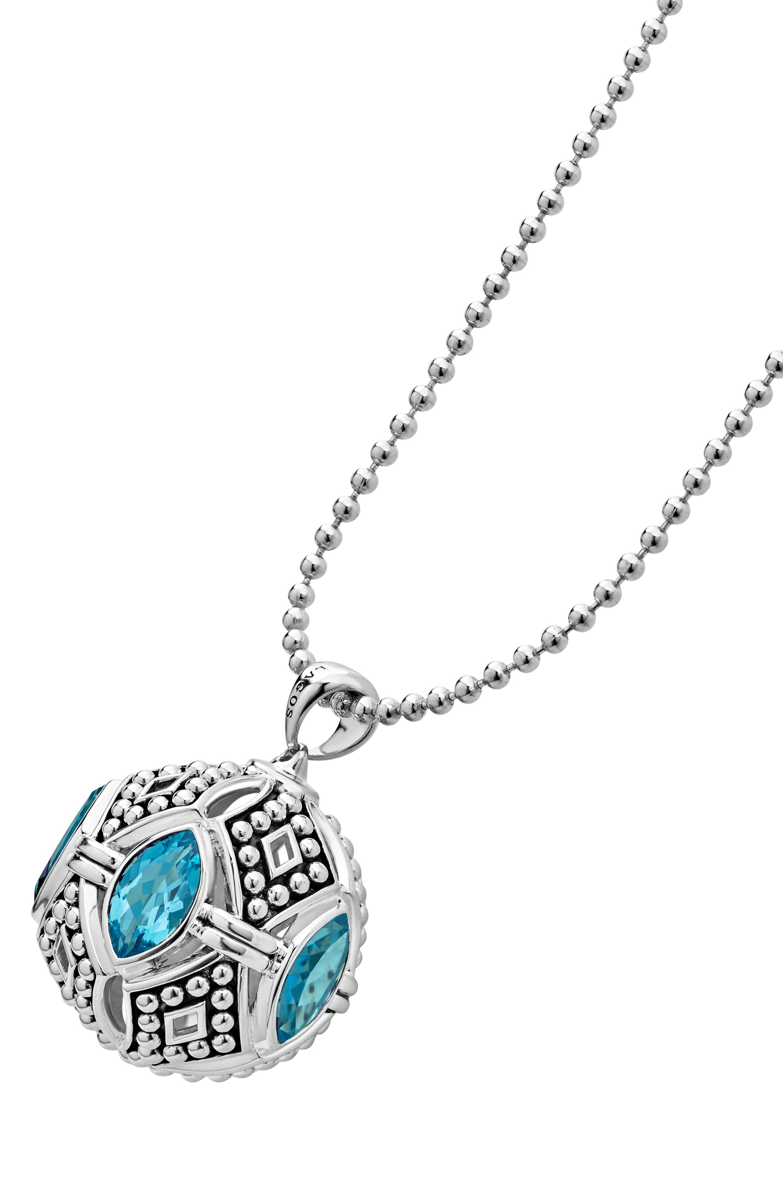 Signature Gifts Marquee Ball Pendant Necklace,                             Alternate thumbnail 2, color,                             SILVER/ BLUE TOPAZ