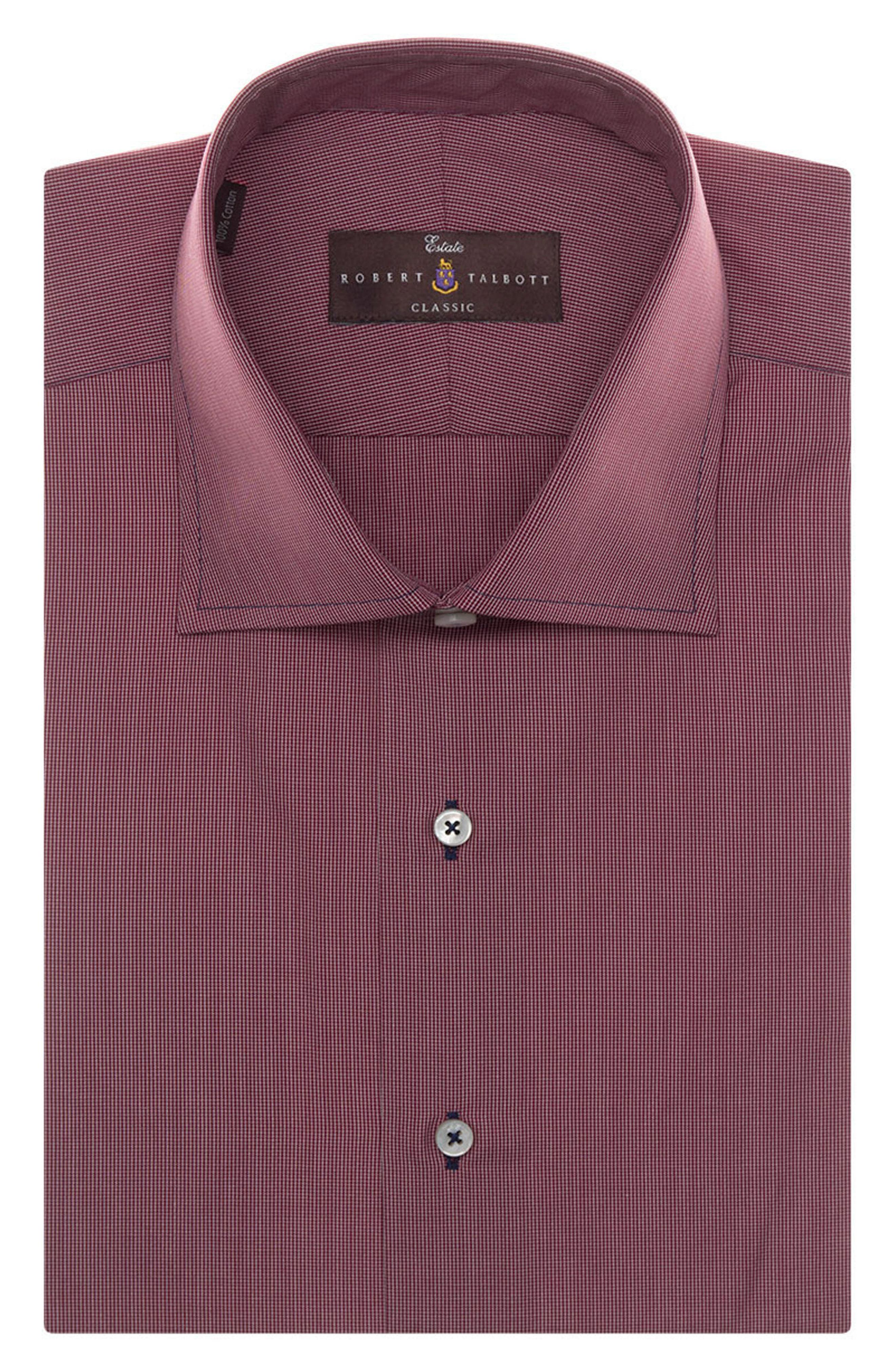 Tailored Fit Check Dress Shirt,                             Main thumbnail 1, color,                             BRICK
