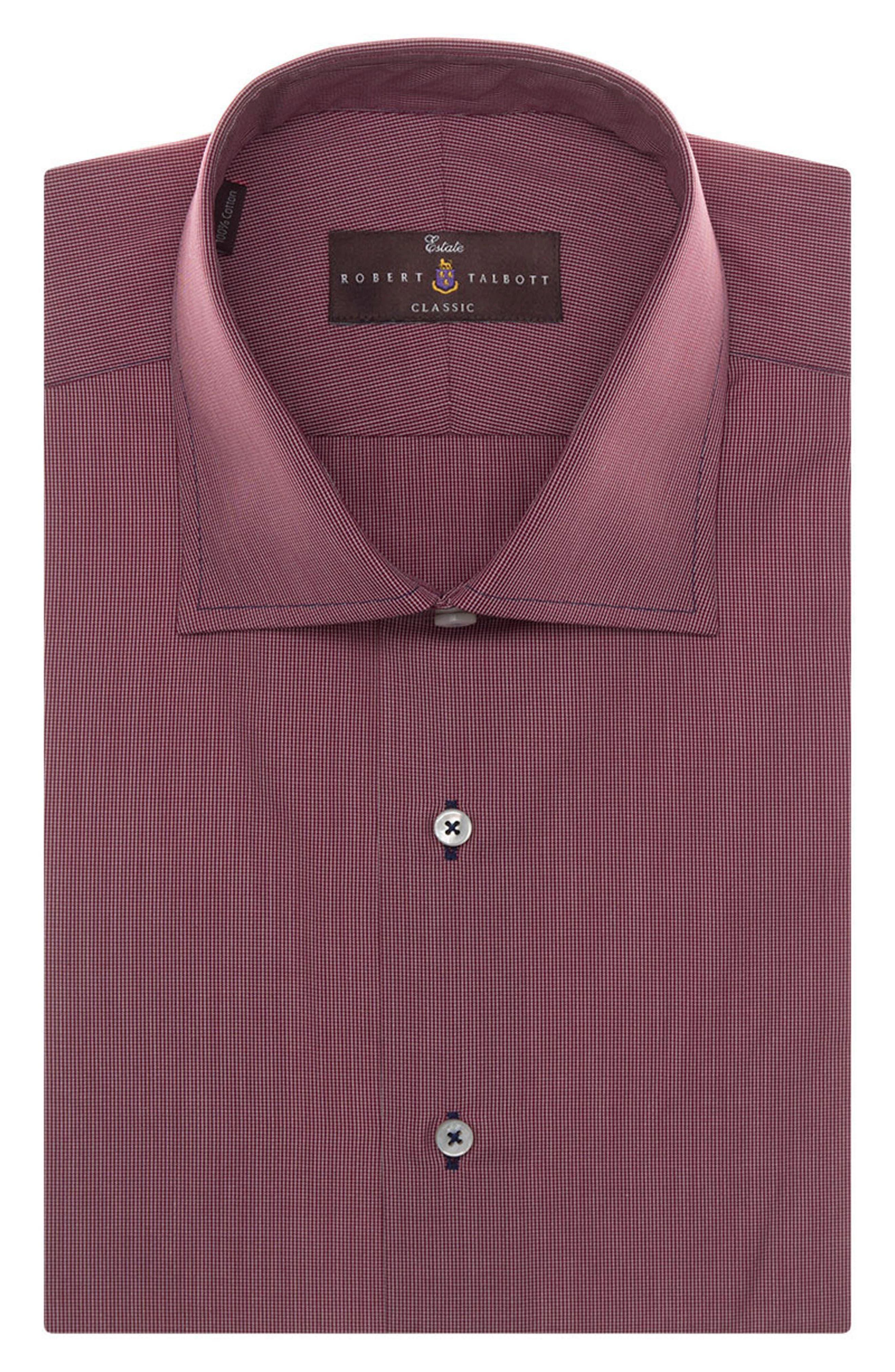 Tailored Fit Check Dress Shirt,                         Main,                         color, BRICK