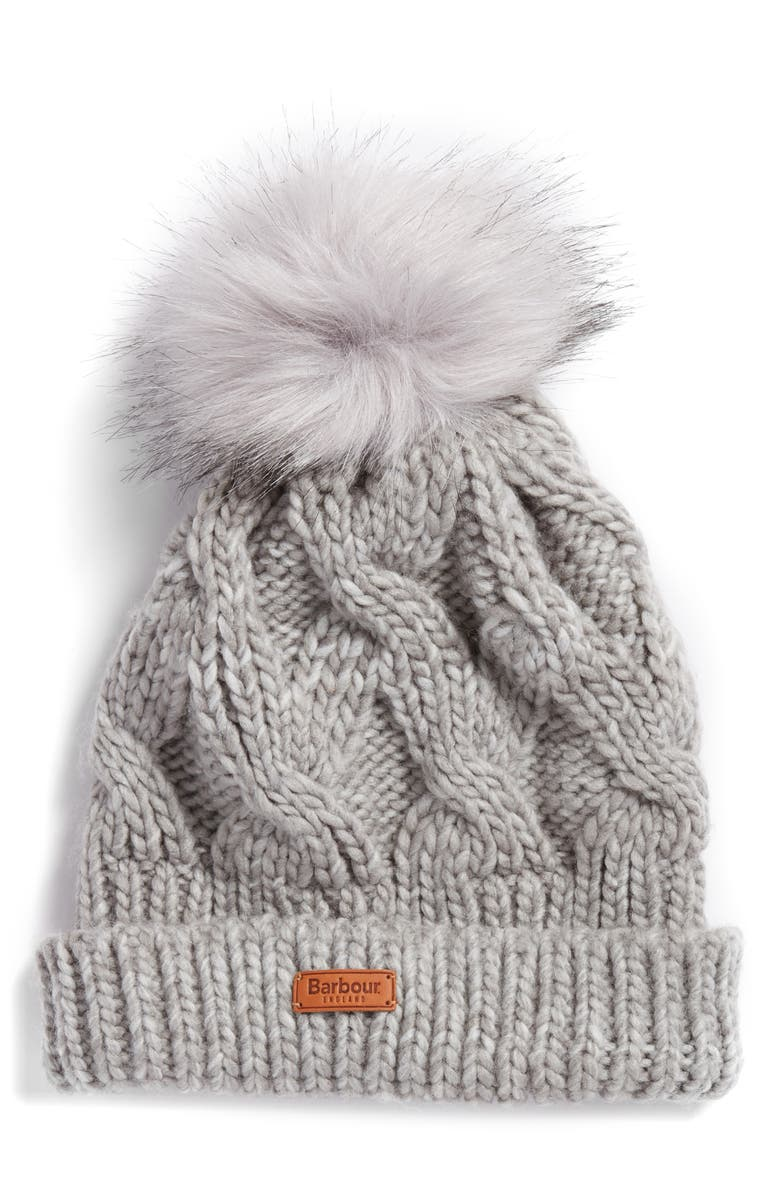 e84ffb85fd6 A classic beanie comes in a braided-design chunky cable knit and tops off  the look with a furry pom. Style Name  Barbour Bridport Pom Beanie.