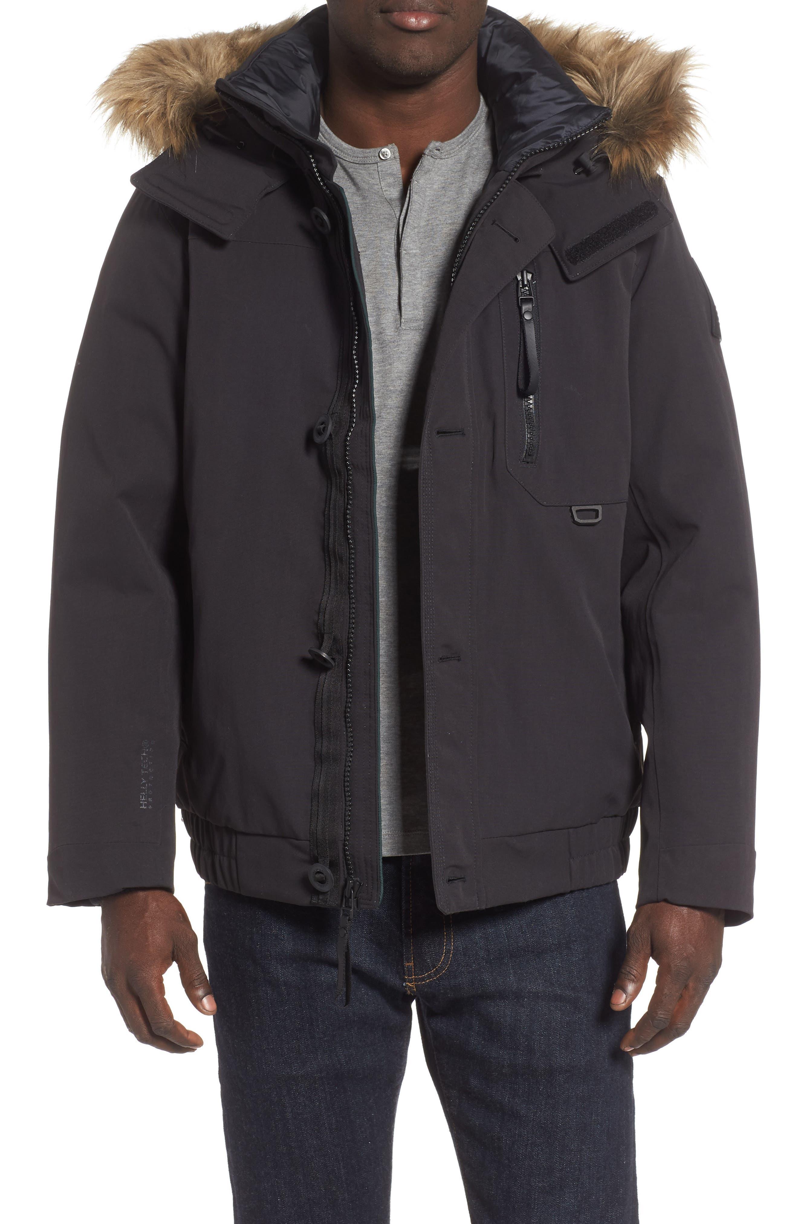 Bardu Waterproof Bomber Jacket with Detachable Hood and Faux Fur Trim,                         Main,                         color, BLACK