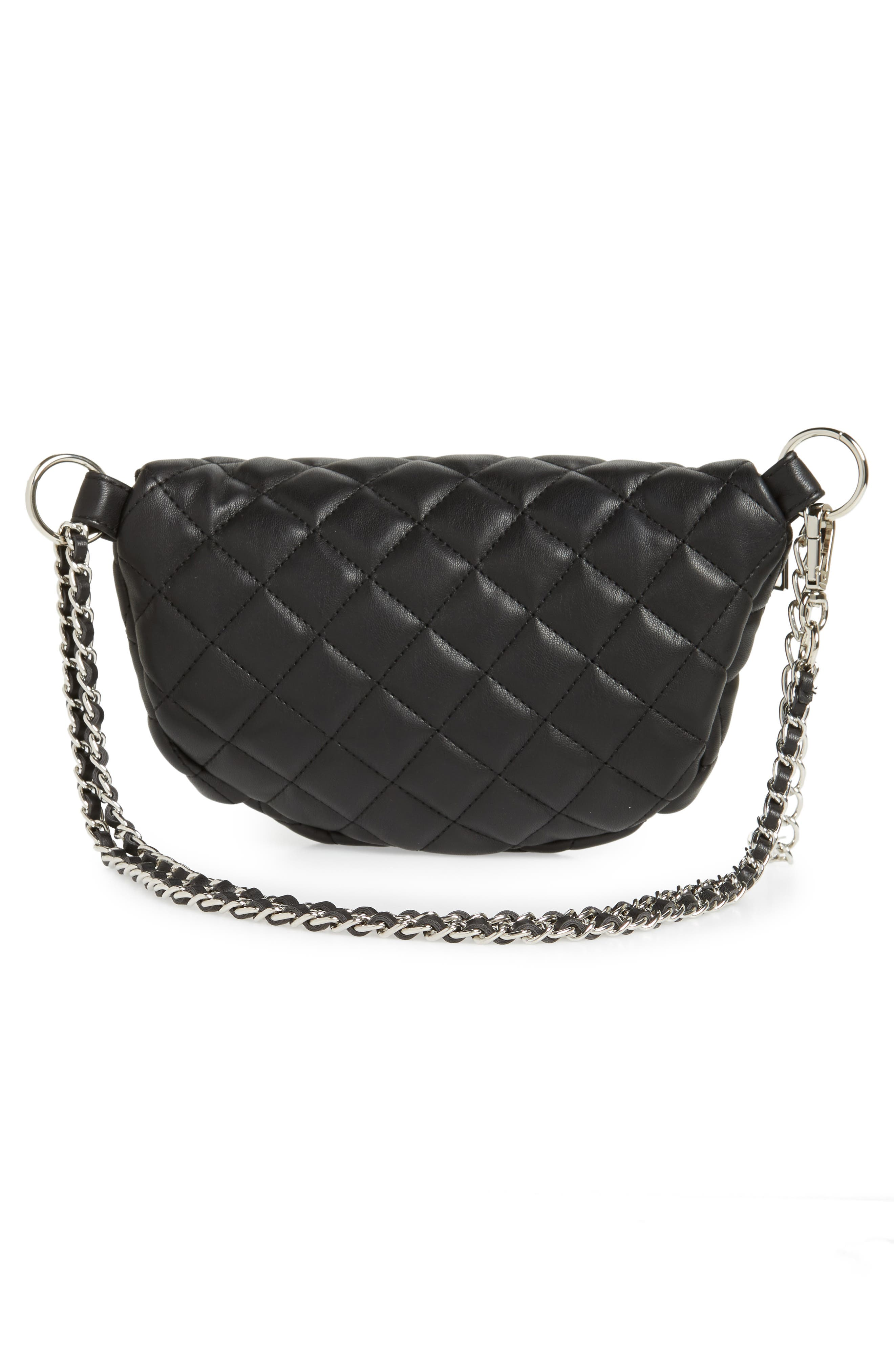 Quilted Faux Leather Fanny Pack,                             Alternate thumbnail 6, color,                             BLACK