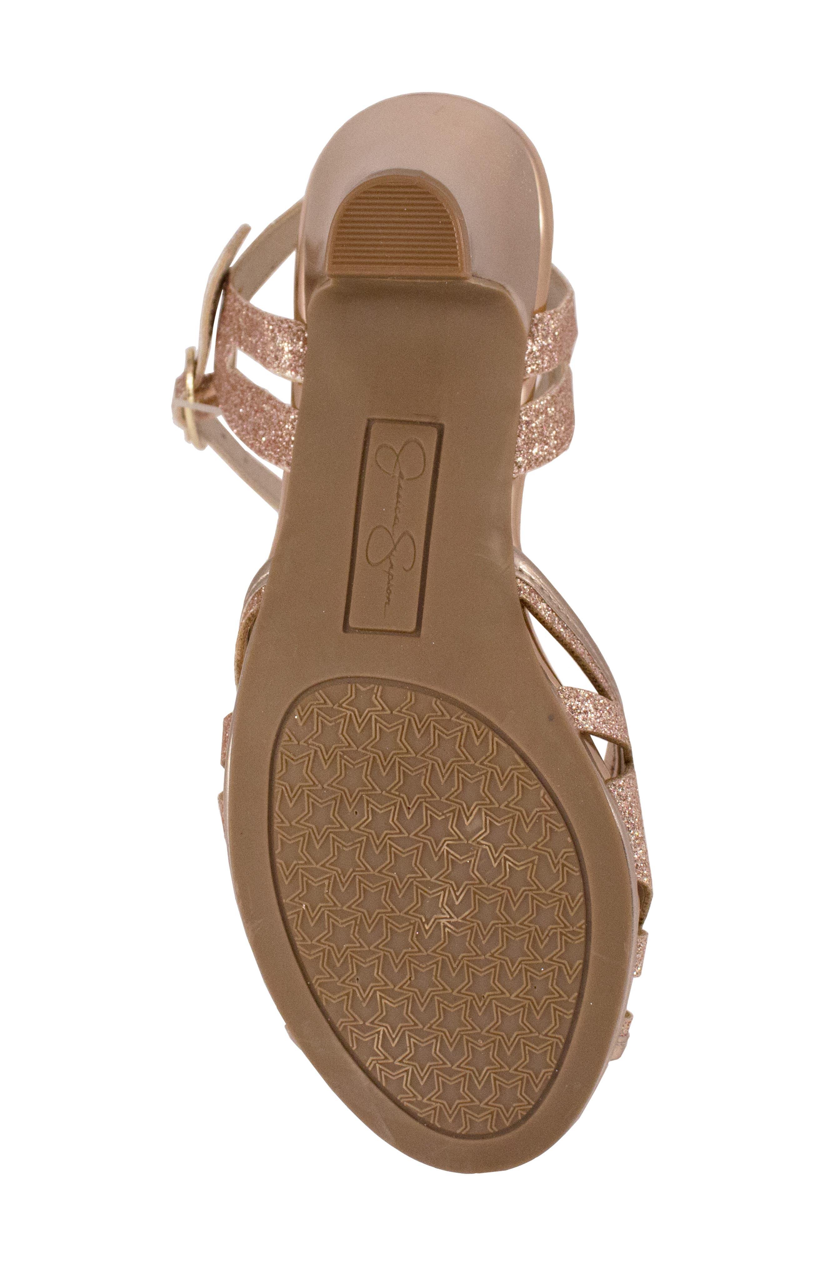 JESSICA SIMPSON,                             Glitter Sandal,                             Alternate thumbnail 6, color,                             ROSE GOLD