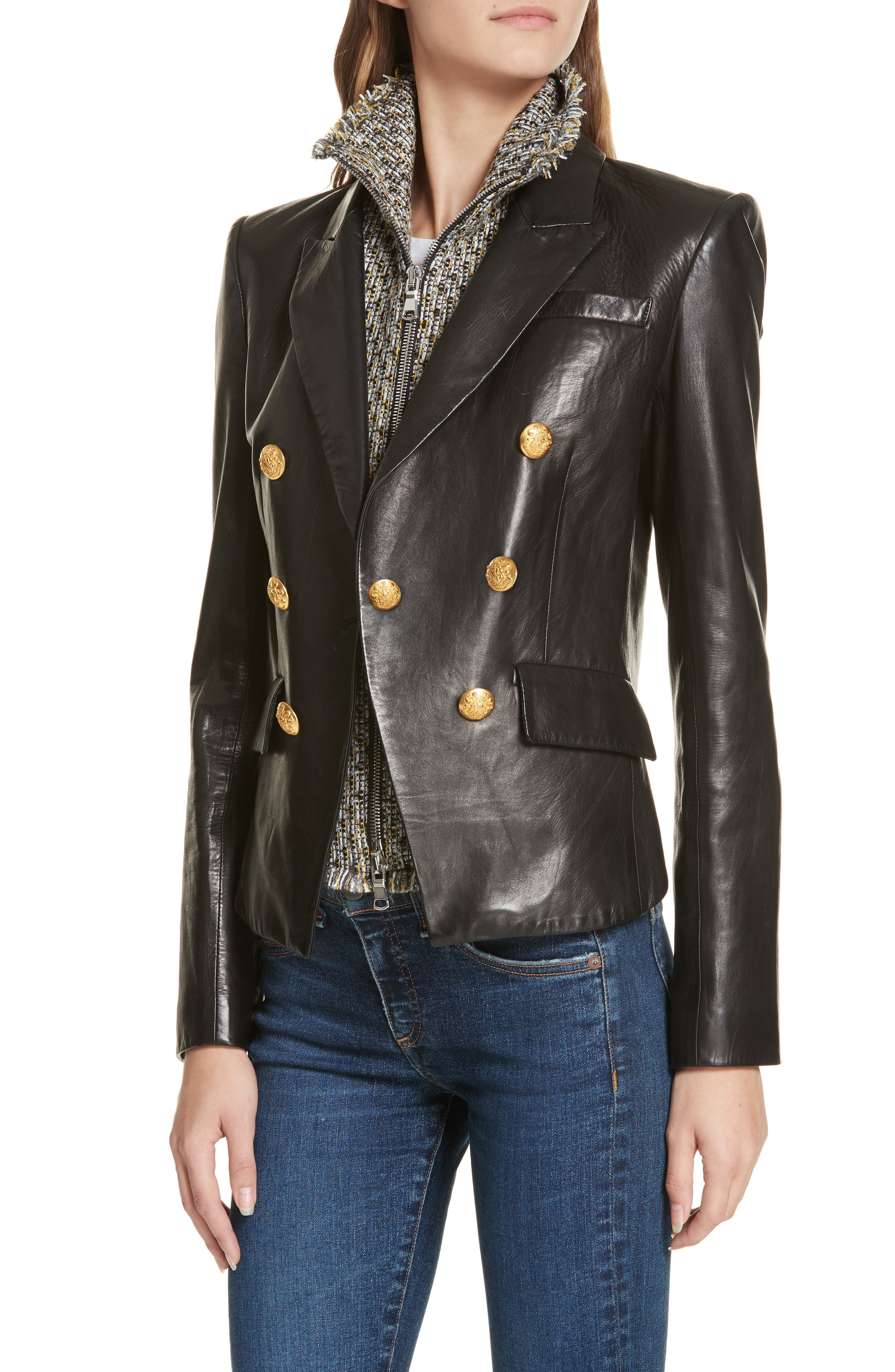 Cooke Leather Dickey Jacket,                             Alternate thumbnail 4, color,                             BLACK