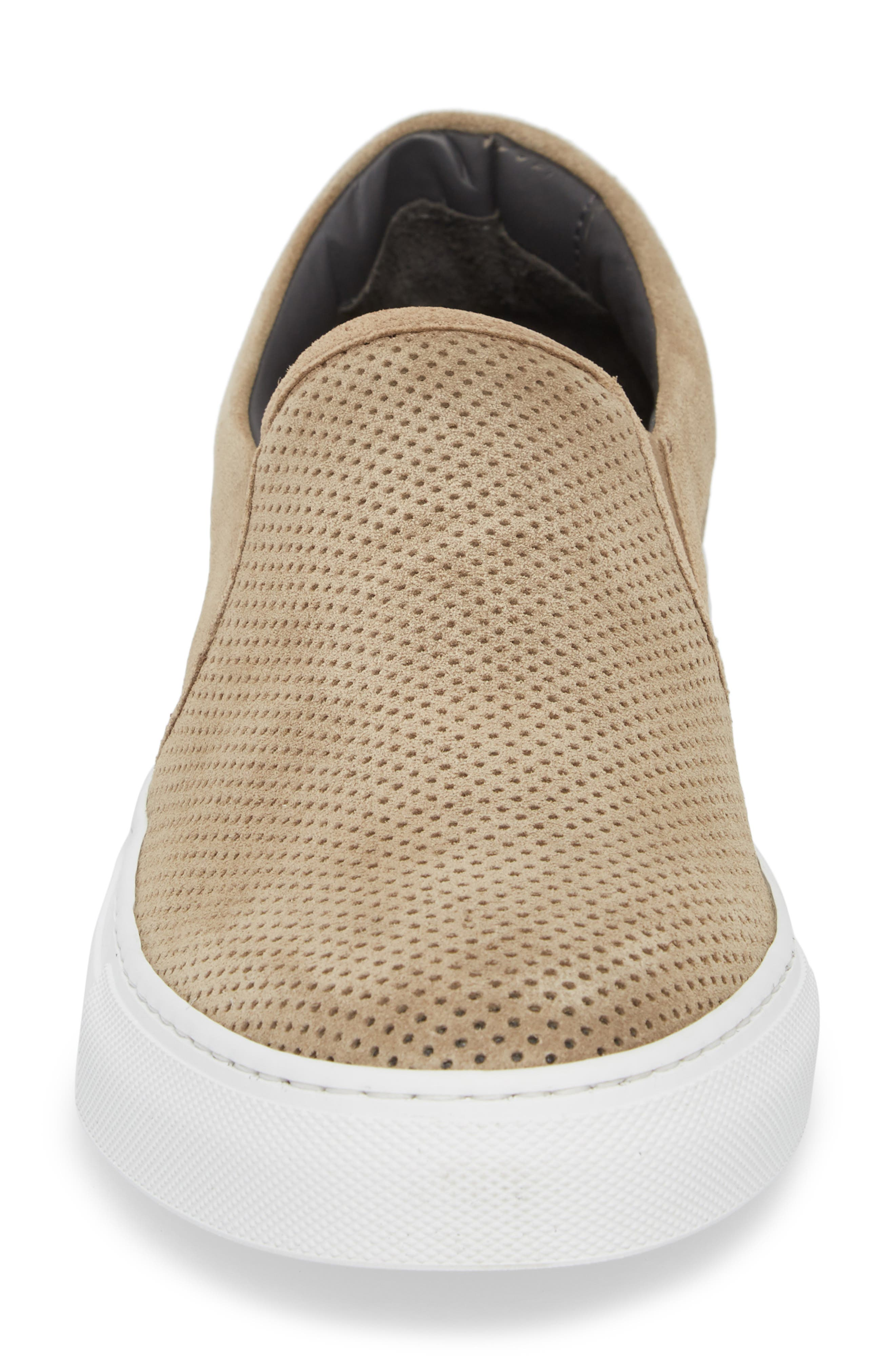 Buelton Perforated Slip-On Sneaker,                             Alternate thumbnail 4, color,                             BROWN SUEDE