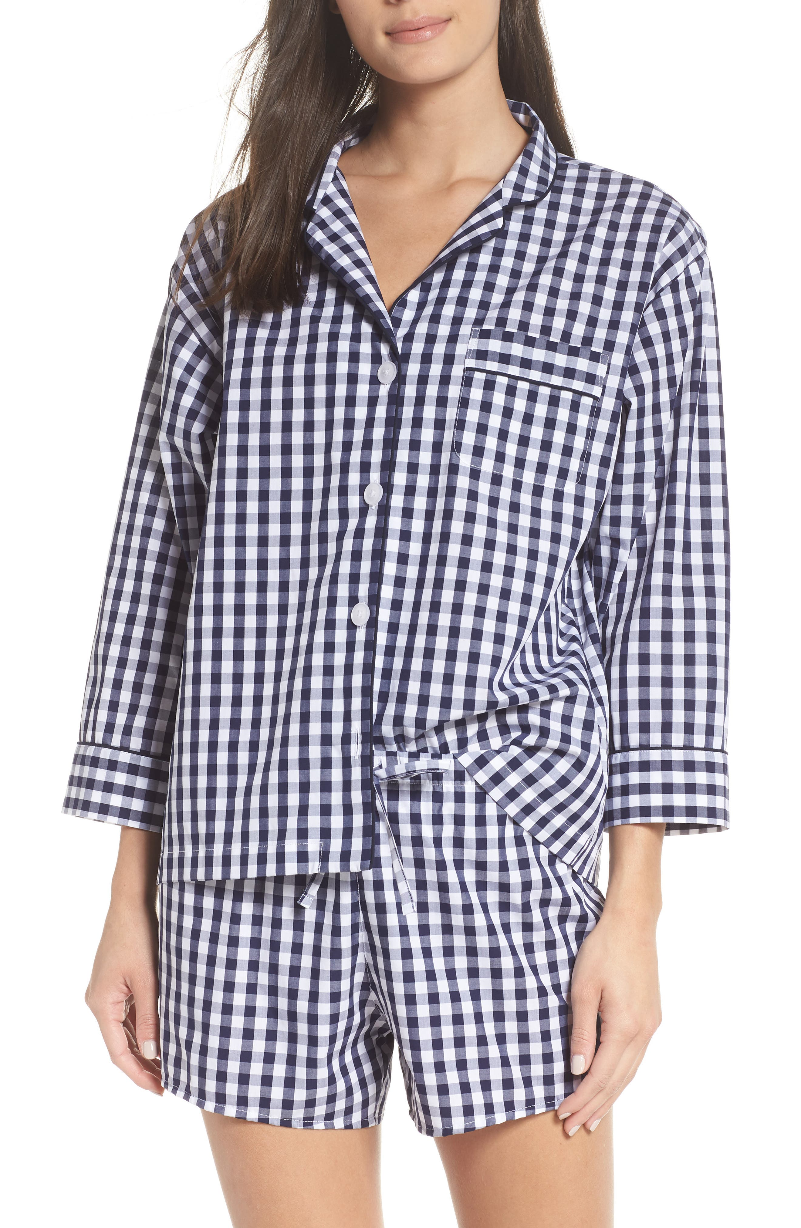 Marina Women's Pajama Shirt,                             Alternate thumbnail 2, color,                             LARGE GINGHAM BLUE