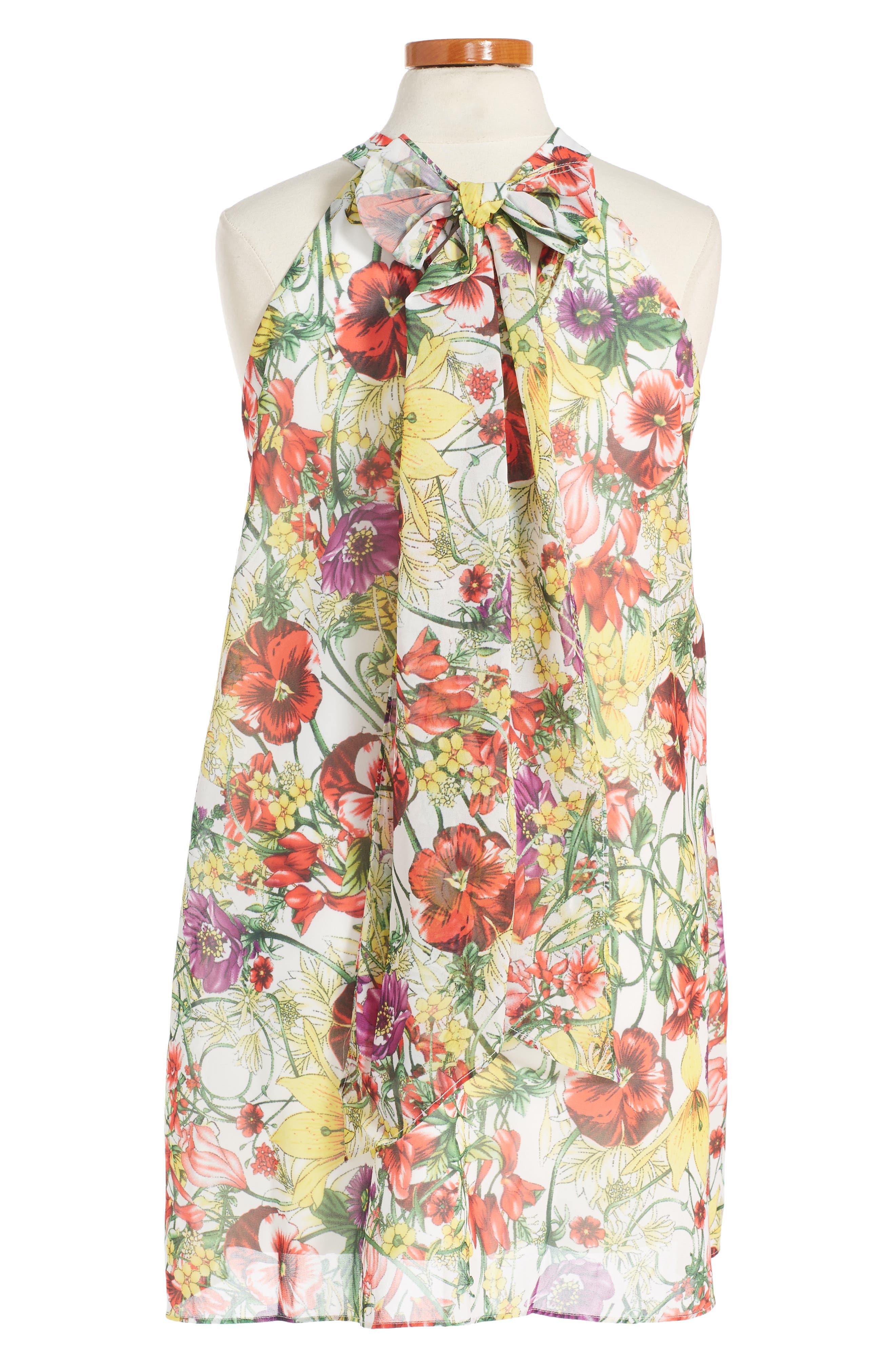 Print Chiffon Halter Dress,                             Main thumbnail 2, color,