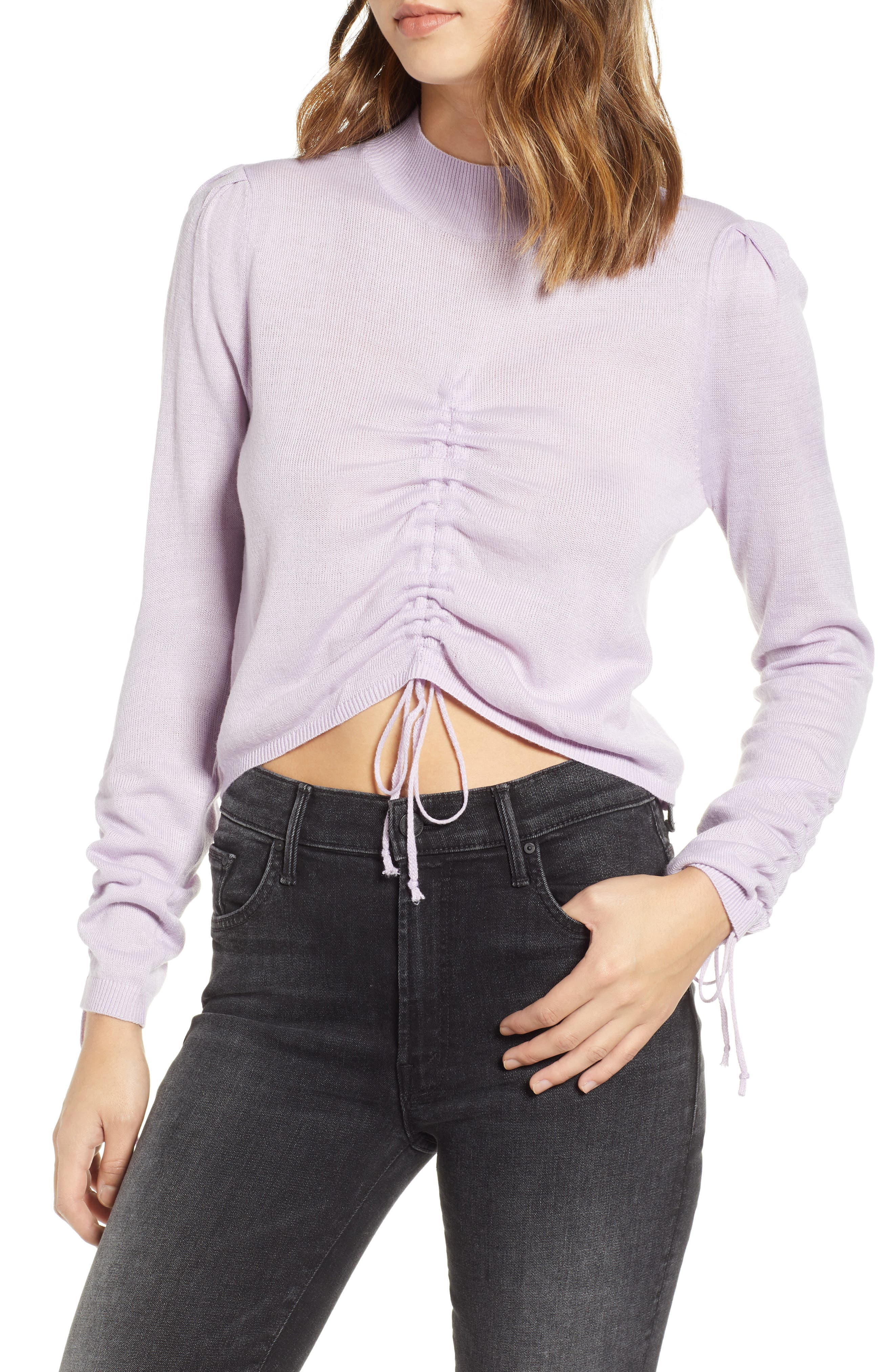 JOA Ruched Drawstring Cropped Sweater in Lavender