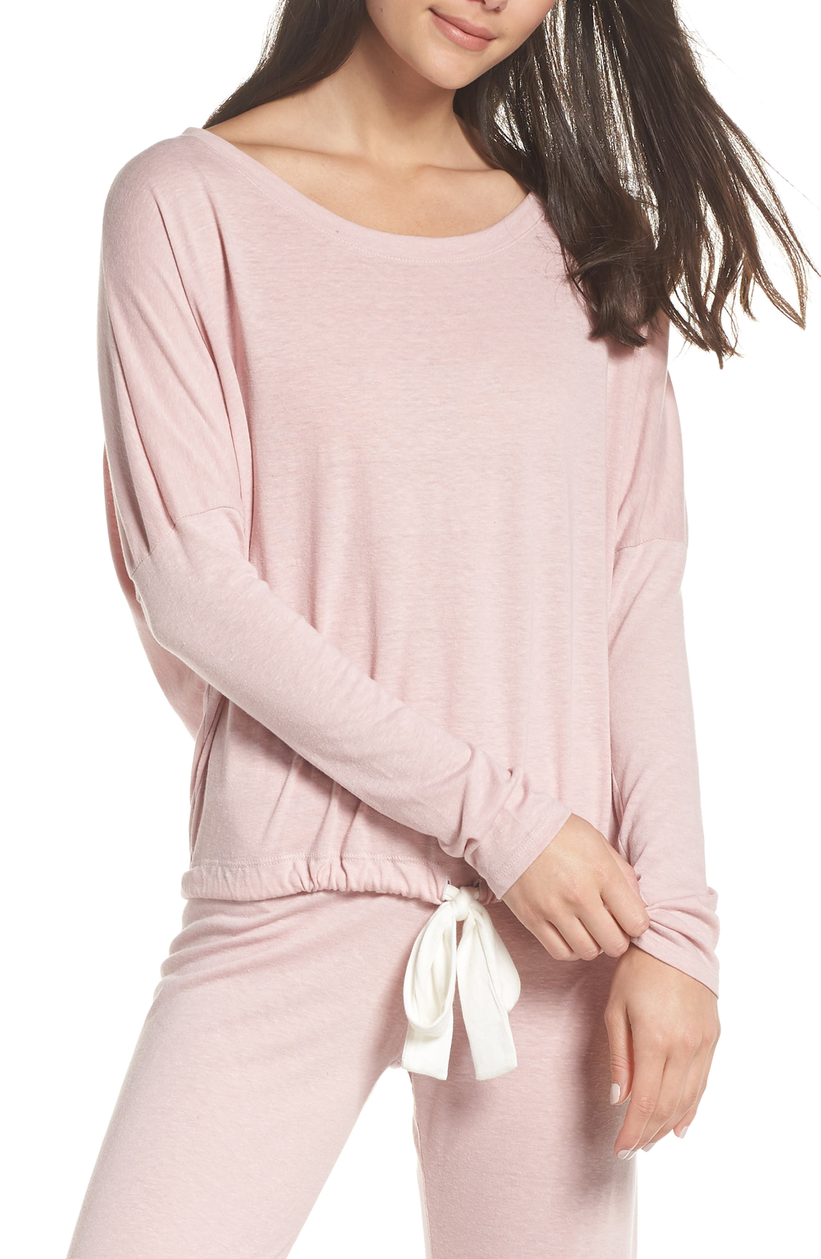 Heather Knit Slouchy Tee,                         Main,                         color, CASHMERE ROSE