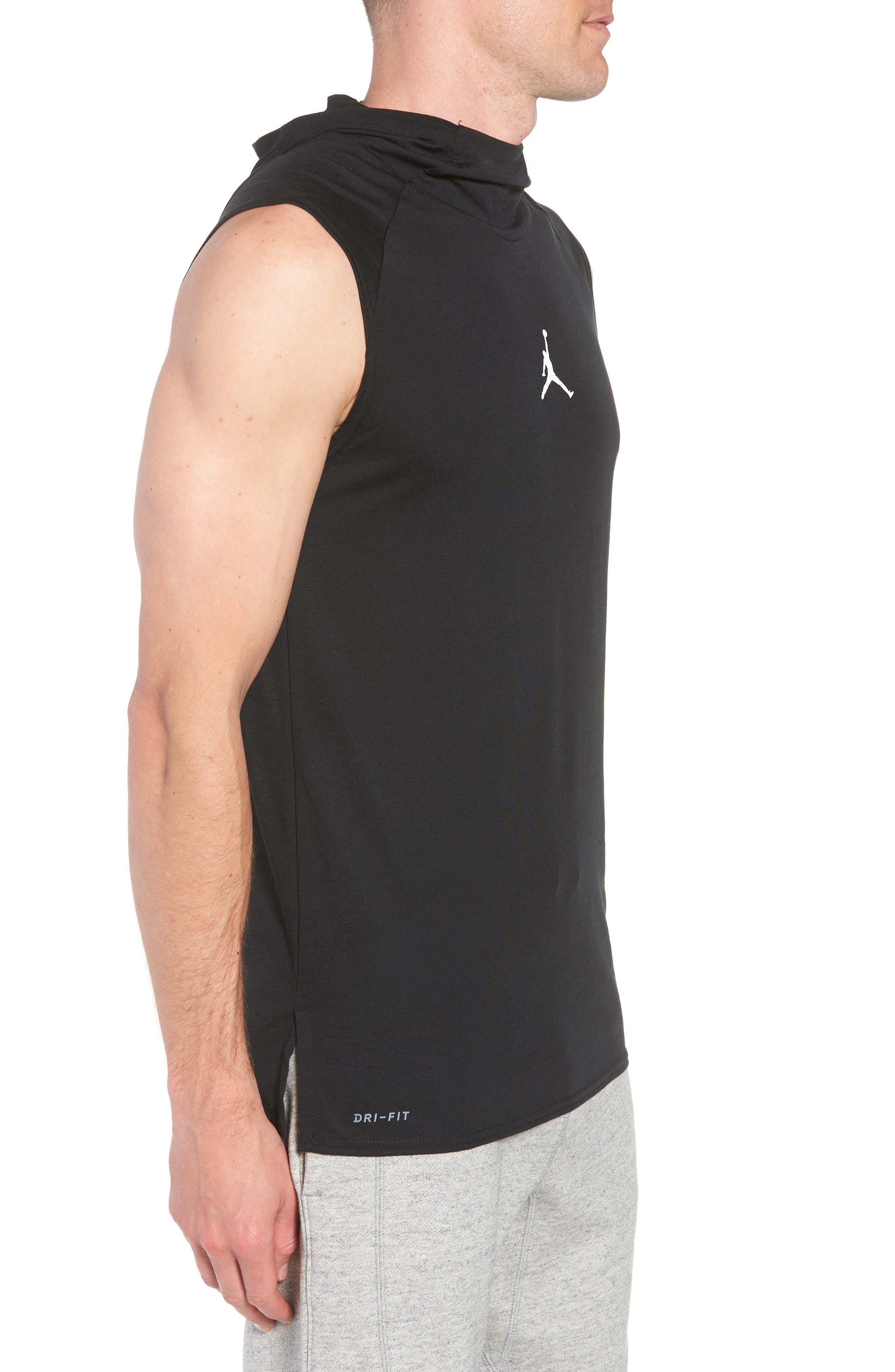 23 Alpha Dry Sleeveless Hoodie,                             Alternate thumbnail 3, color,                             BLACK/ WHITE