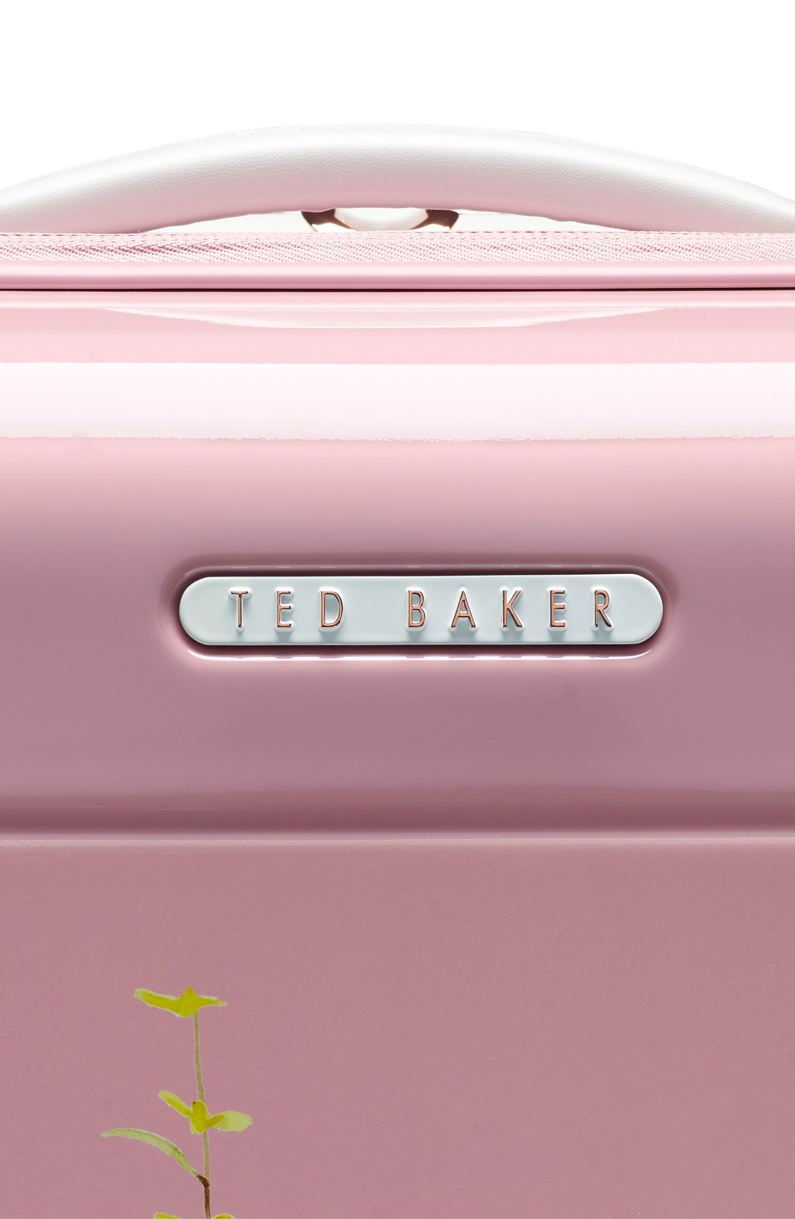 TED BAKER LONDON,                             Small Elegant Print 21-Inch Spinner Carry-On,                             Alternate thumbnail 5, color,                             PINK