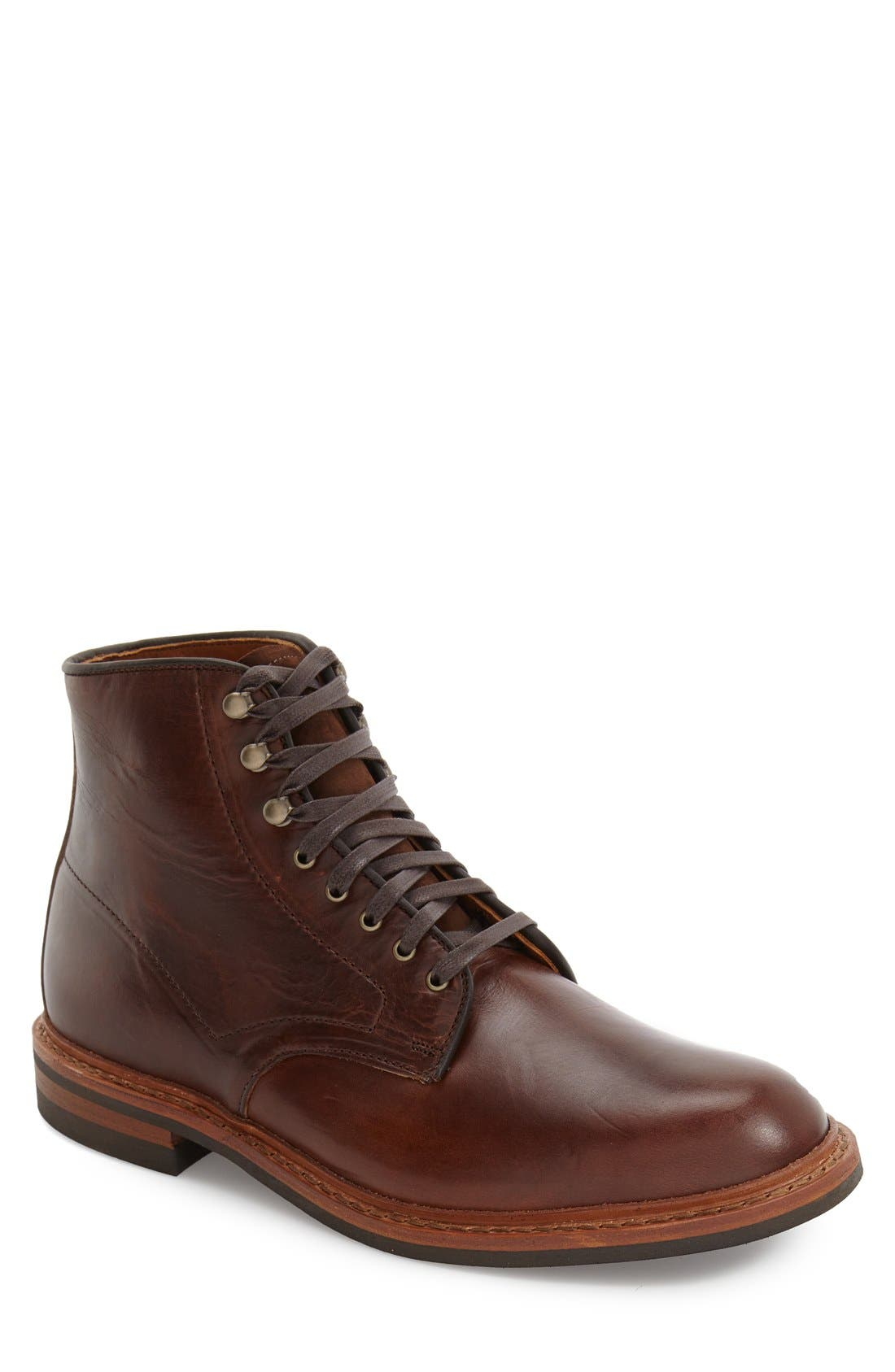 'Higgins Mill' Plain Toe Boot,                             Main thumbnail 1, color,                             BROWN LEATHER