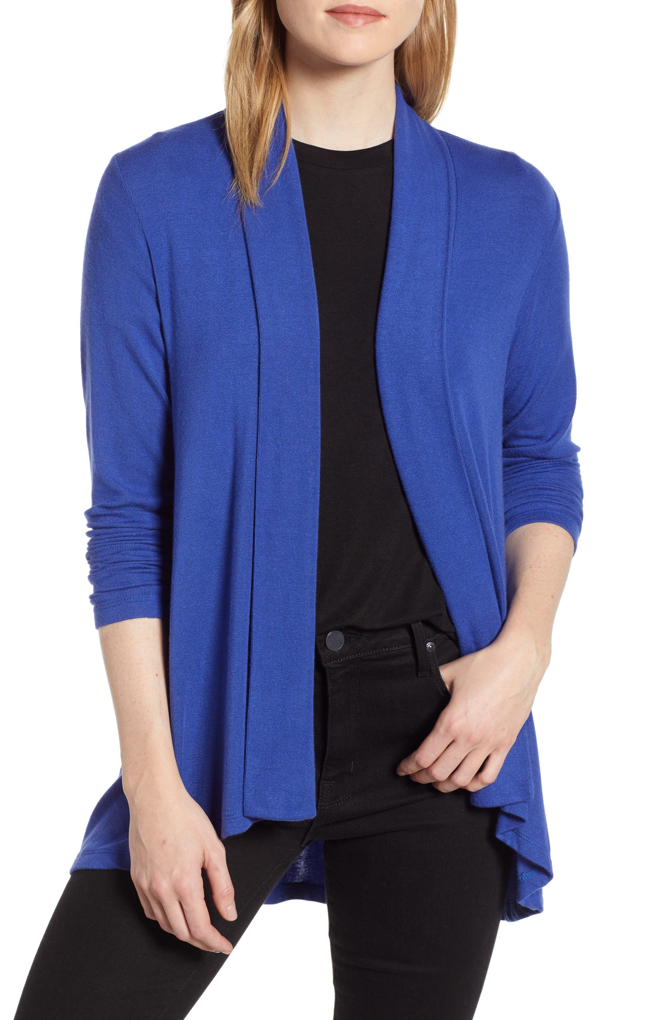 Bobeau High/low Jersey Cardigan, Blue
