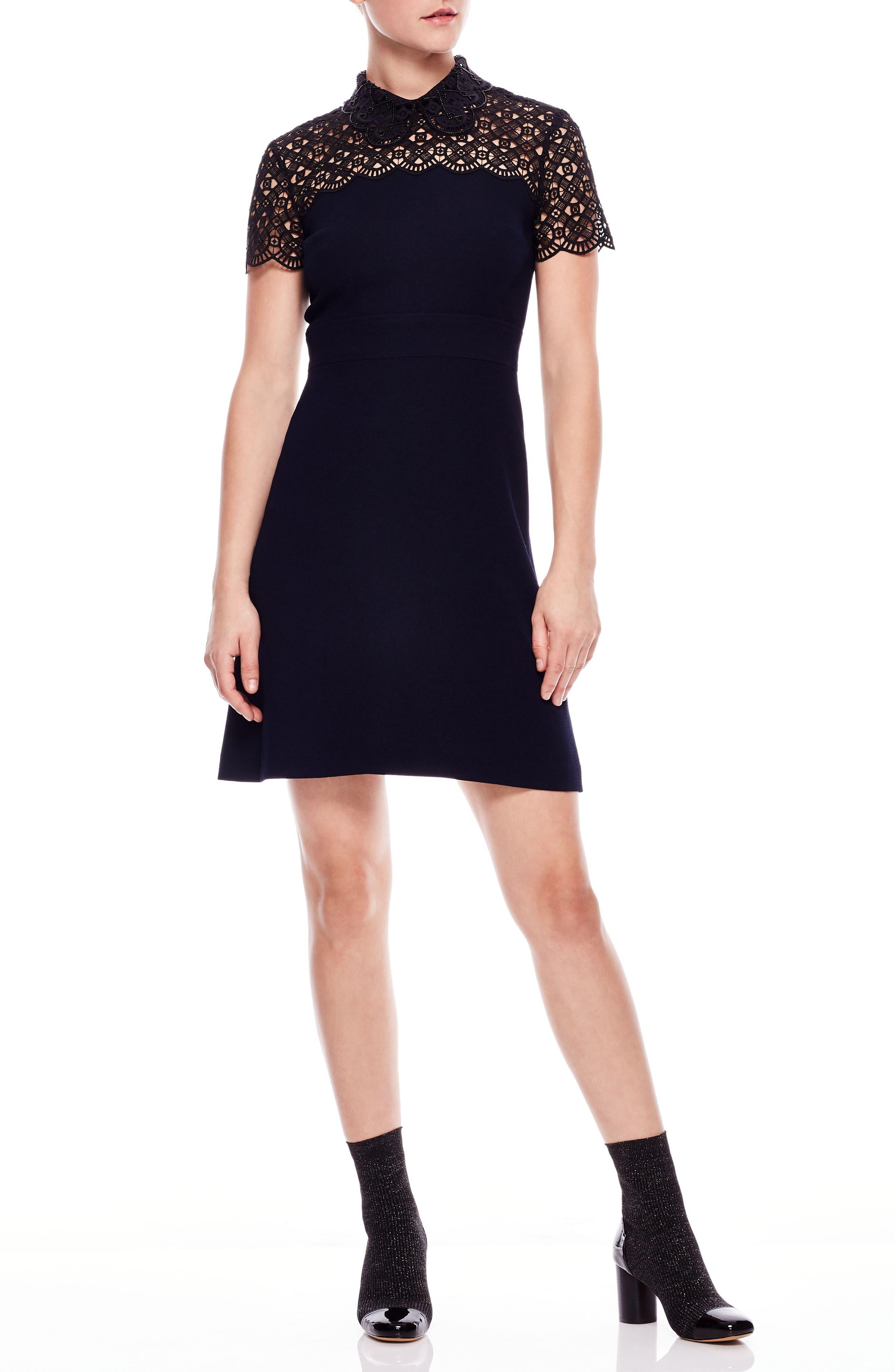 Lace Yoke Bead Detail Dress,                             Main thumbnail 1, color,                             DEEP NAVY