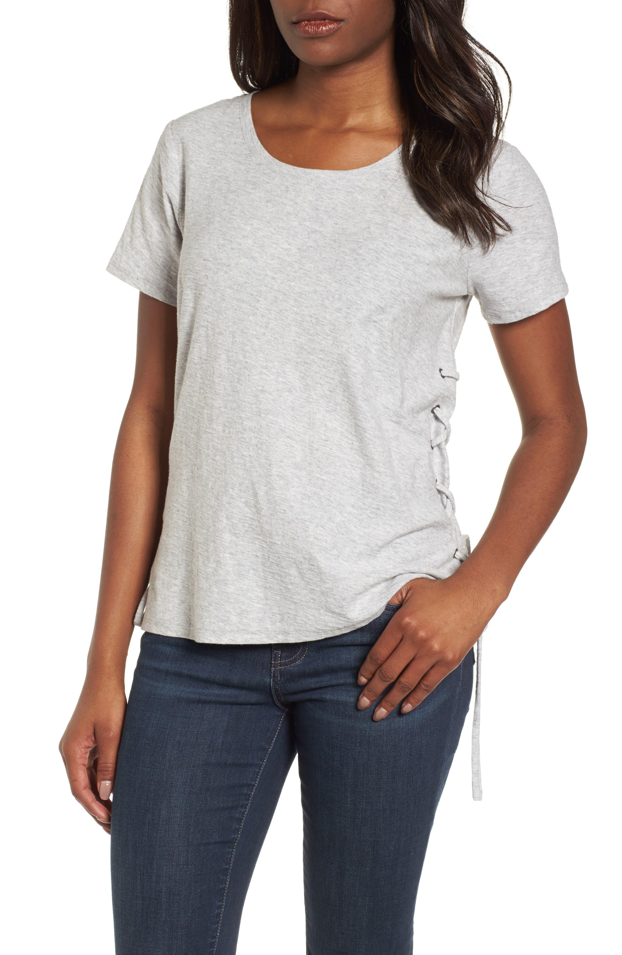 Side Lace-Up Cotton Slub Top,                         Main,                         color, GREY HEATHER