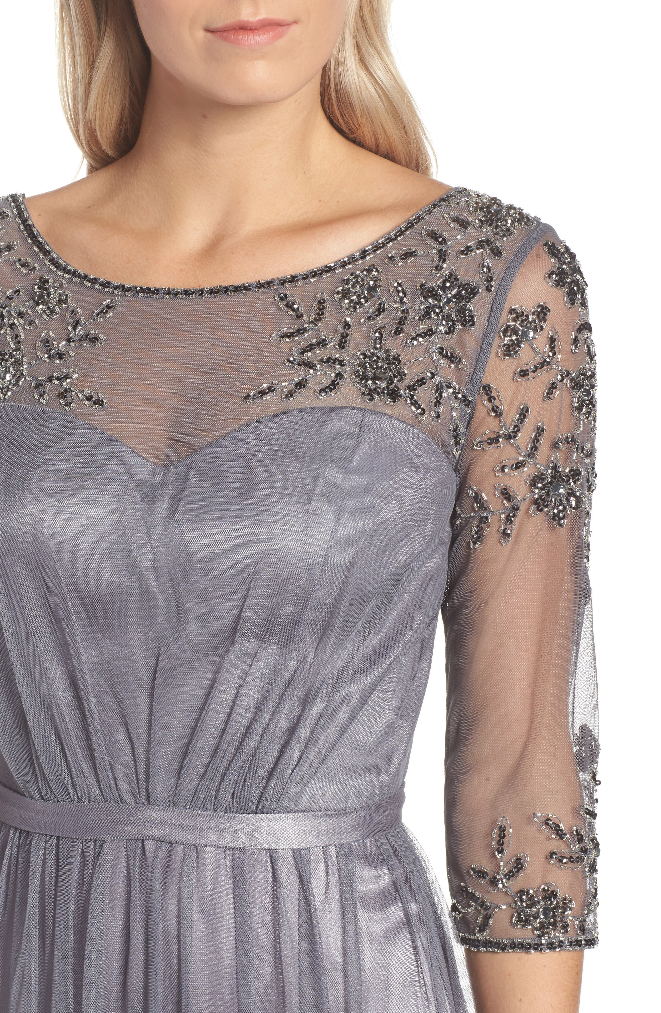 Beaded Lace Gown,                             Alternate thumbnail 4, color,                             021