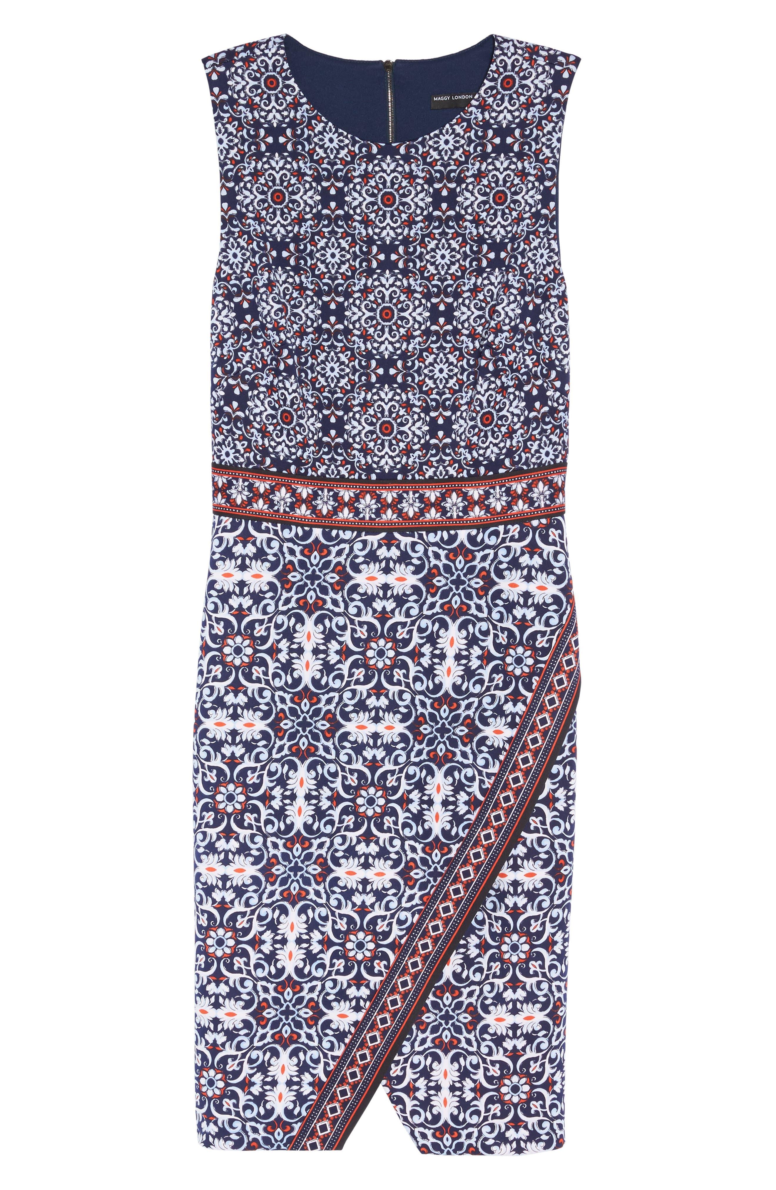 Printed Scissor Front Sleeveless Dress,                             Alternate thumbnail 6, color,                             490