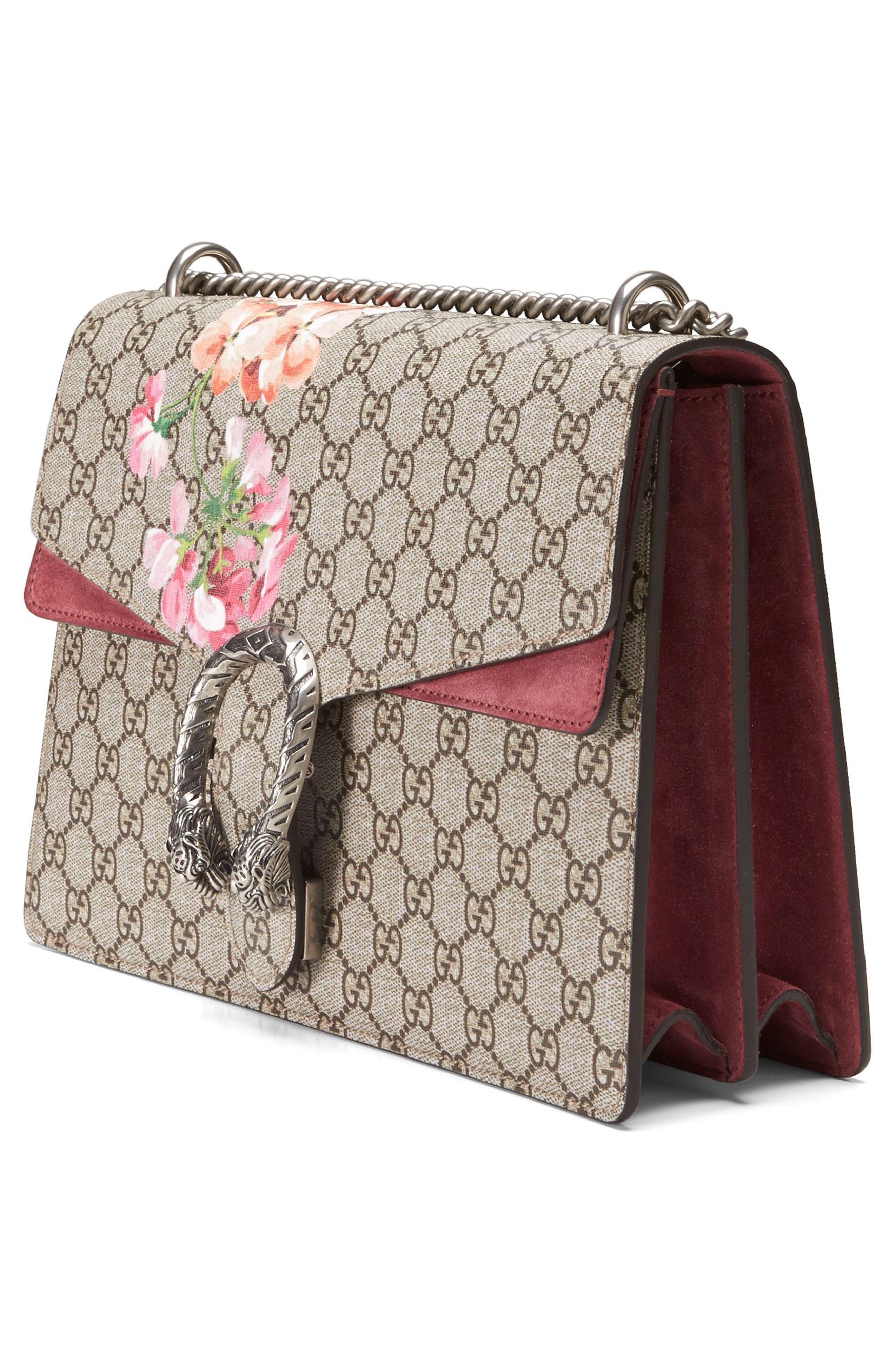 Large Floral GG Supreme Canvas & Suede Shoulder Bag,                             Alternate thumbnail 8, color,