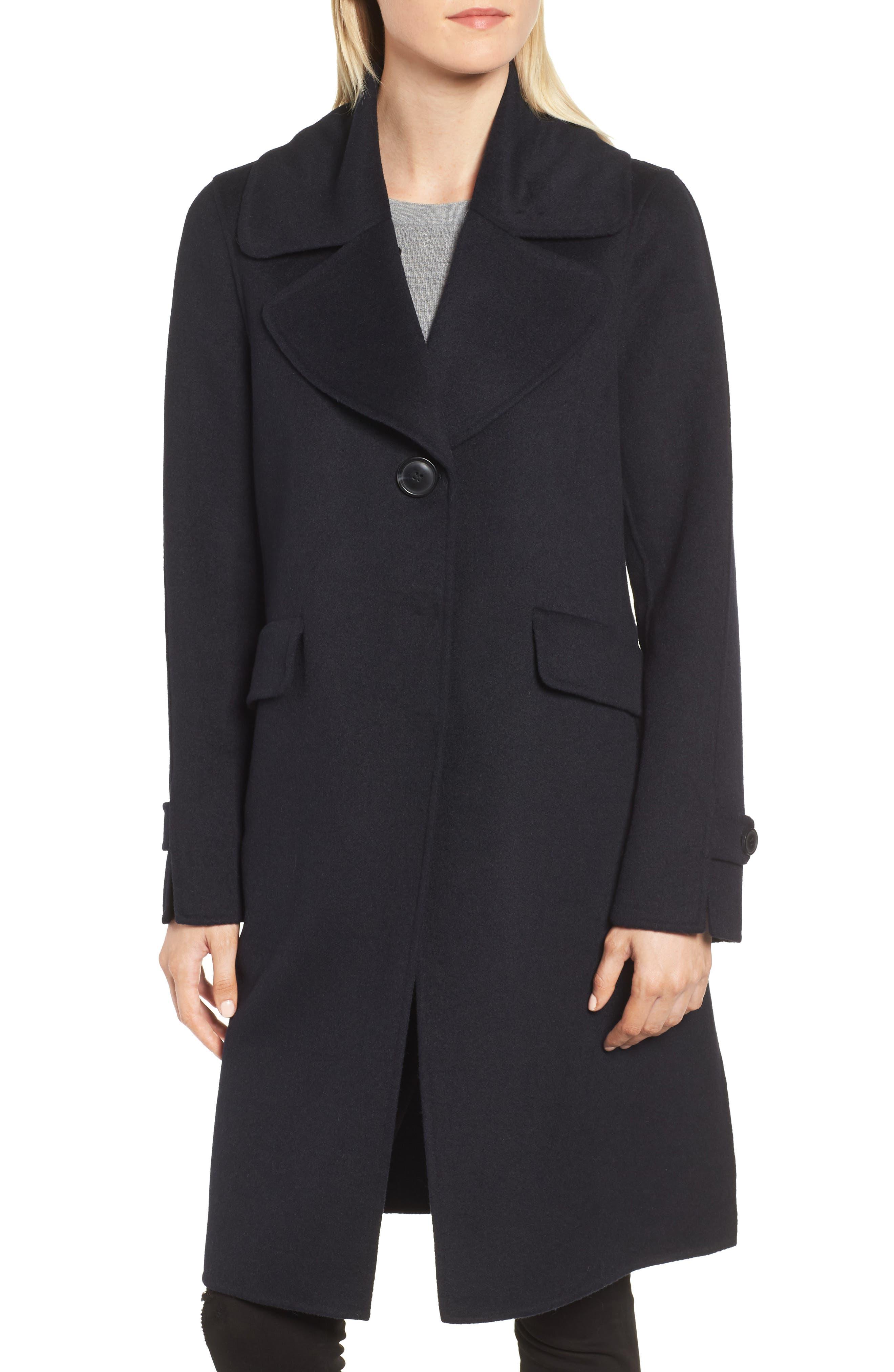 Wool Blend Reefer Coat with Genuine Fox Fur Trim,                             Alternate thumbnail 4, color,                             NAVY