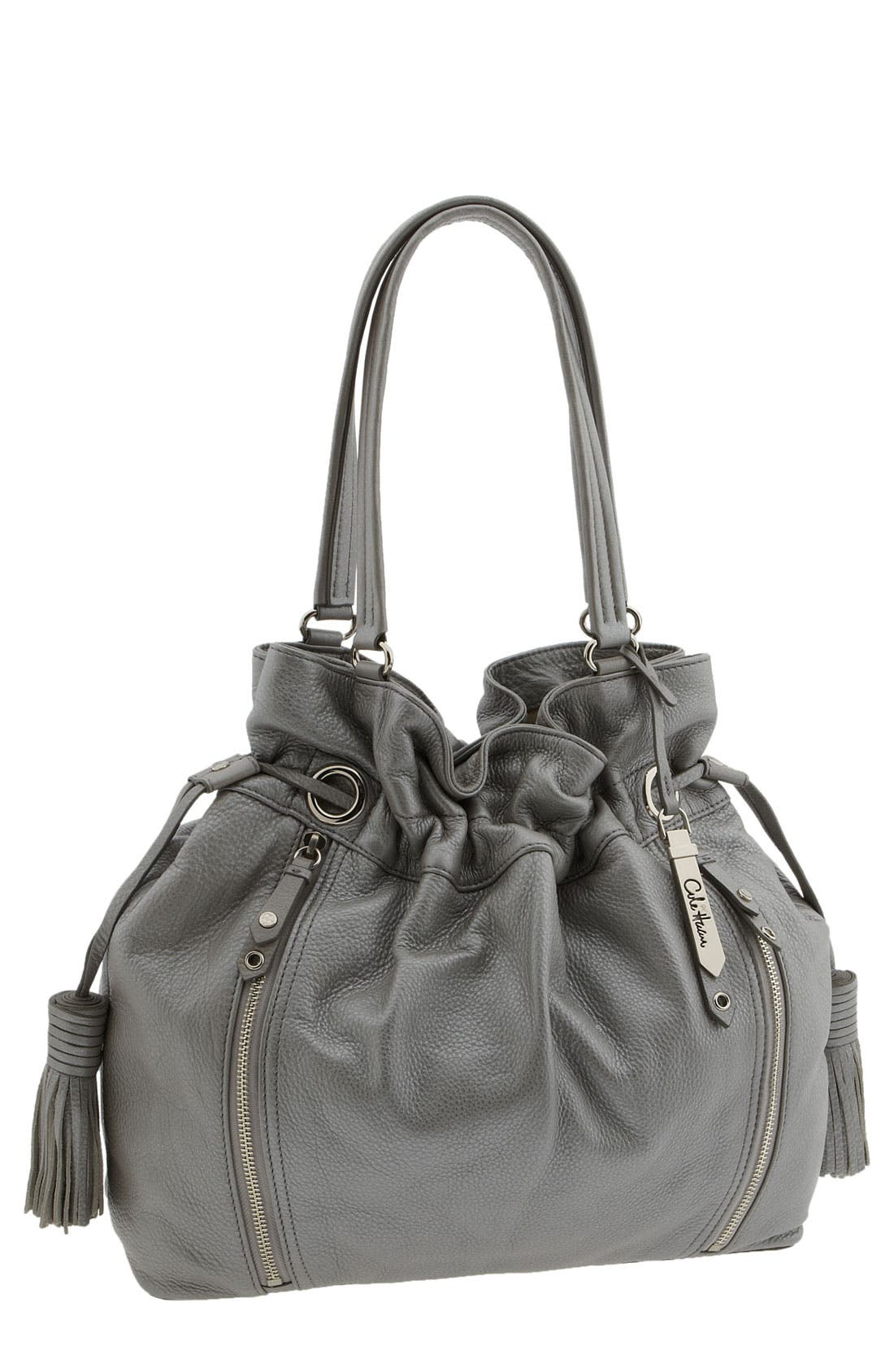 'Bailey' Pebbled Leather Drawstring Tote,                             Main thumbnail 3, color,