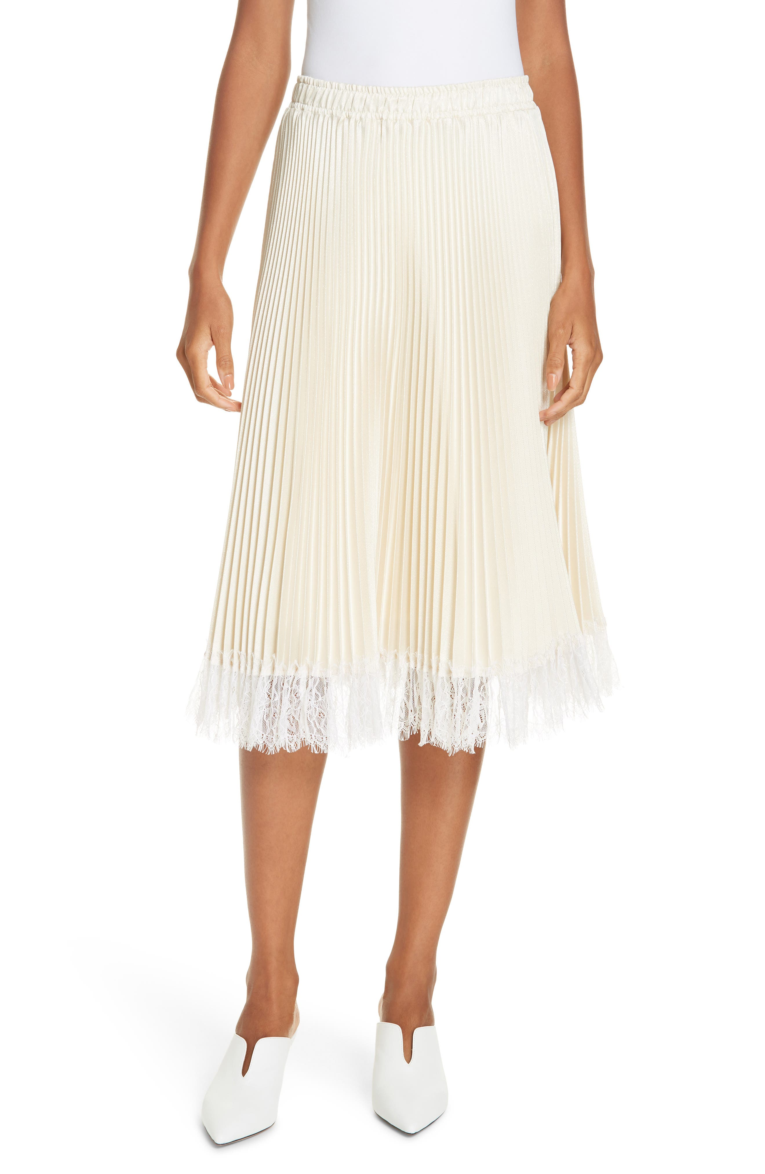 Pleated Metallic Lace Trim Skirt,                         Main,                         color, CHAMPAGNE