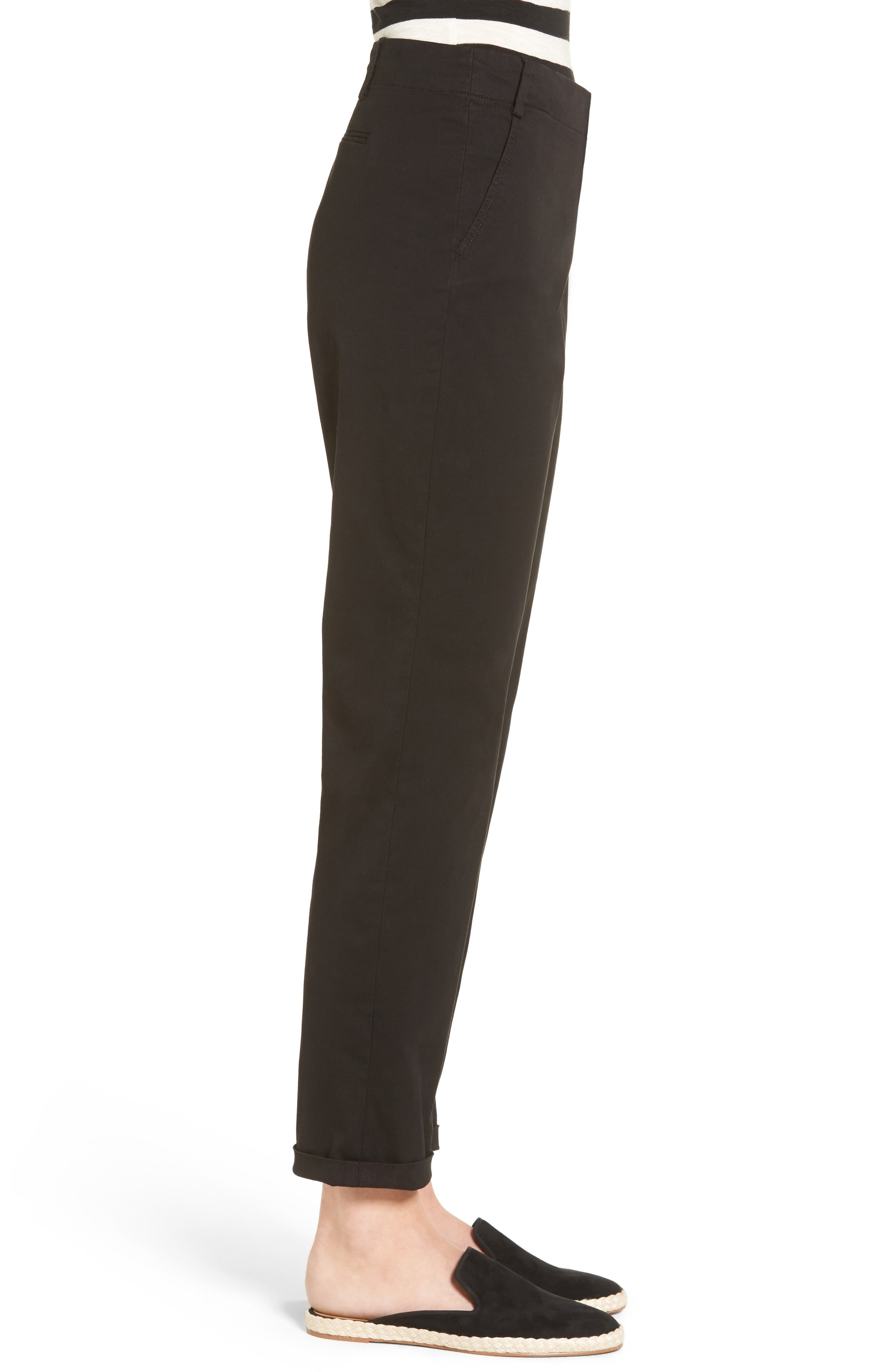Riley Stretch Twill Relaxed Trousers,                             Alternate thumbnail 3, color,                             001