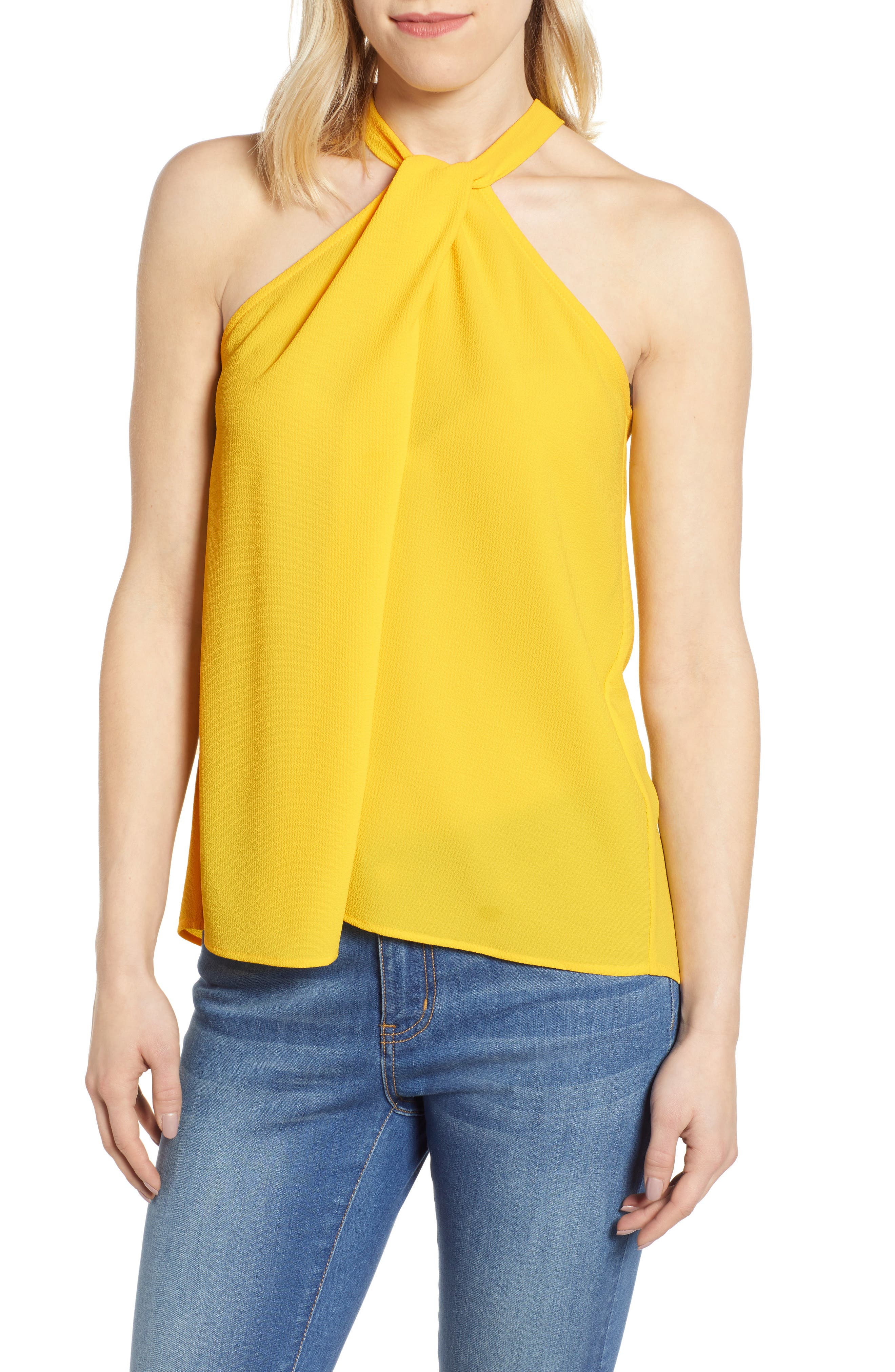 GIBSON,                             x International Women's Day Chelsea Halter Neck Date Top,                             Main thumbnail 1, color,                             YELLOW