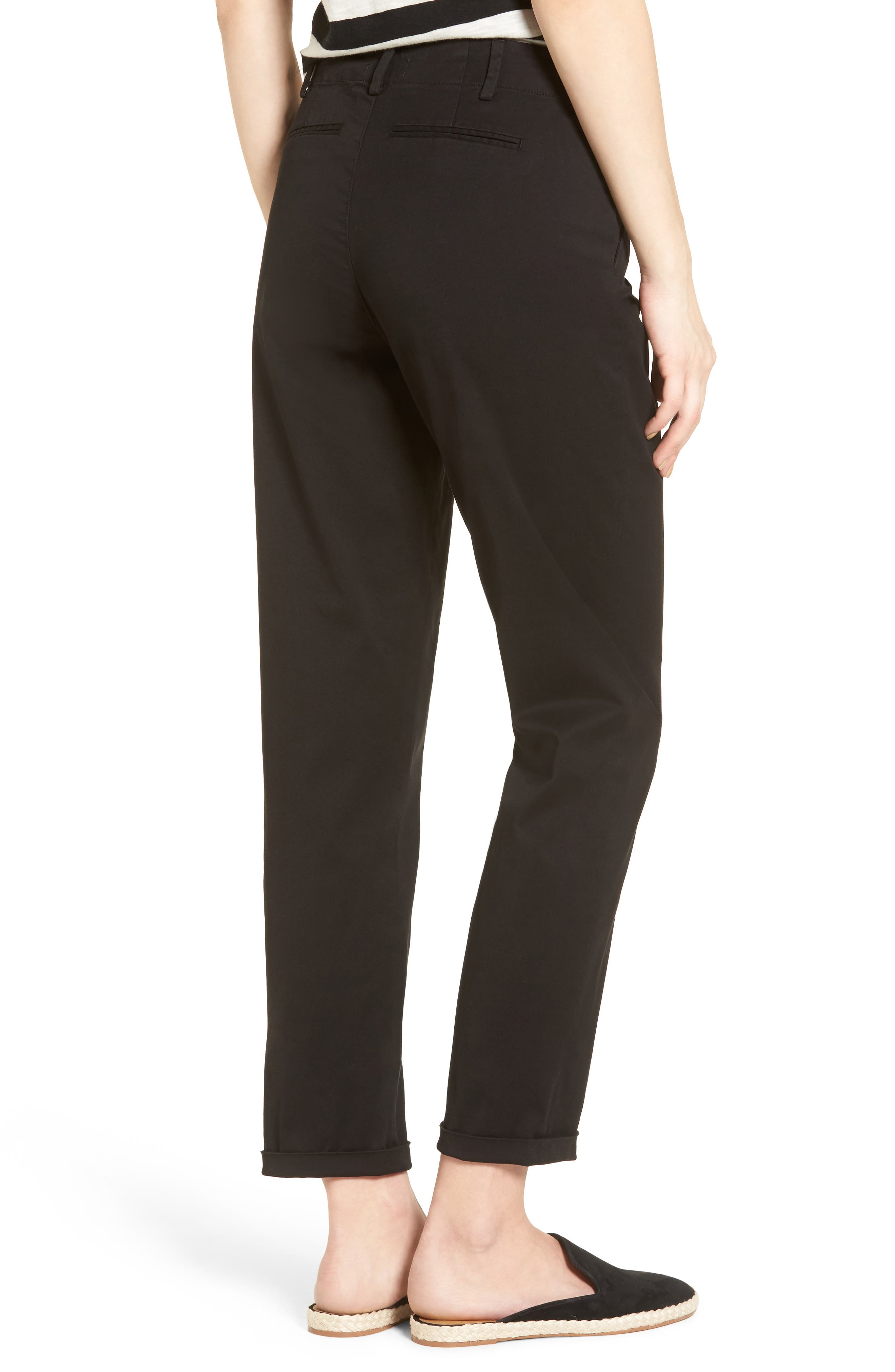 Riley Stretch Twill Relaxed Trousers,                             Alternate thumbnail 2, color,                             001
