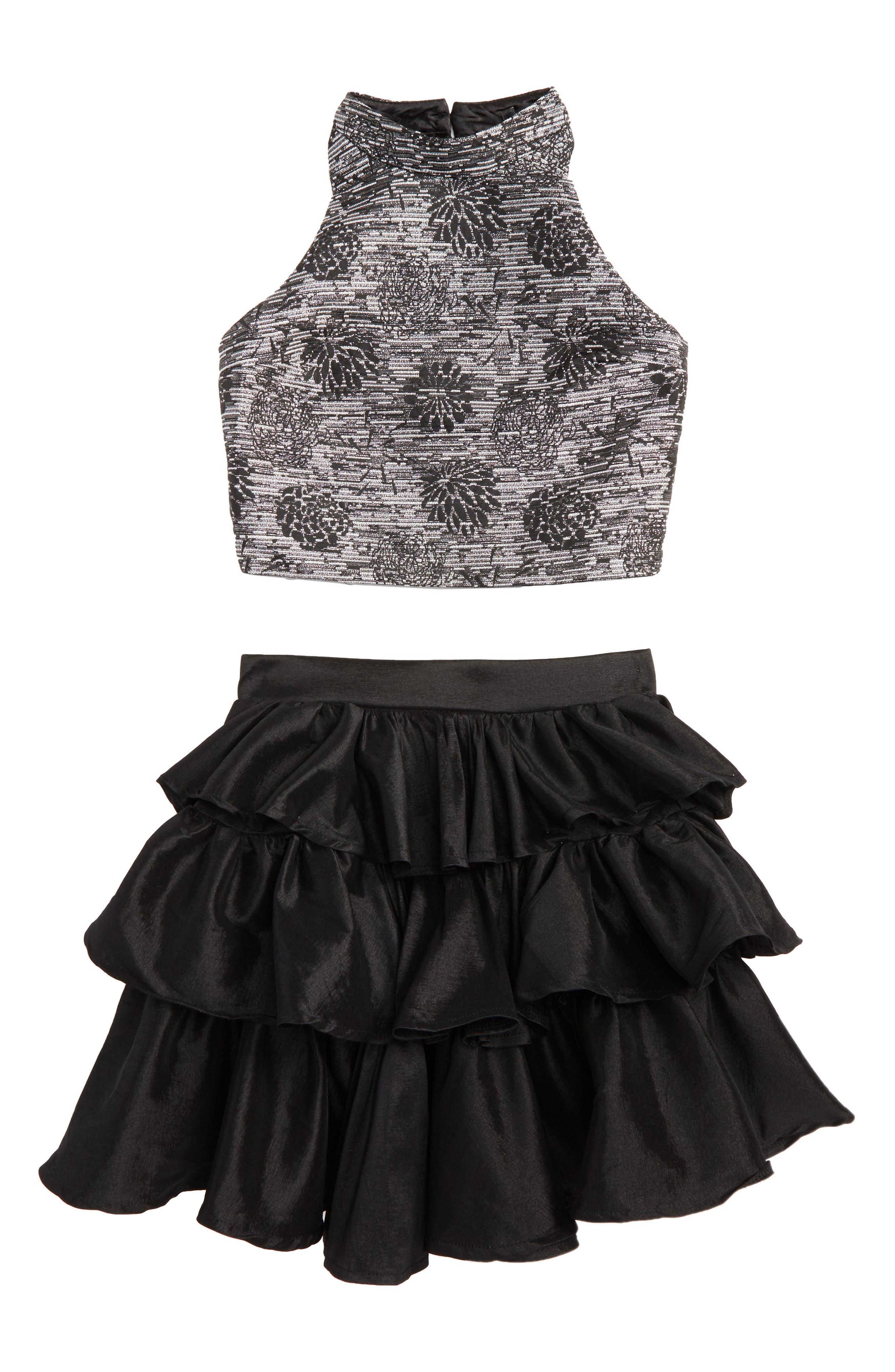 Kayla Meet & Greet Top & Skirt Set,                             Main thumbnail 1, color,                             001