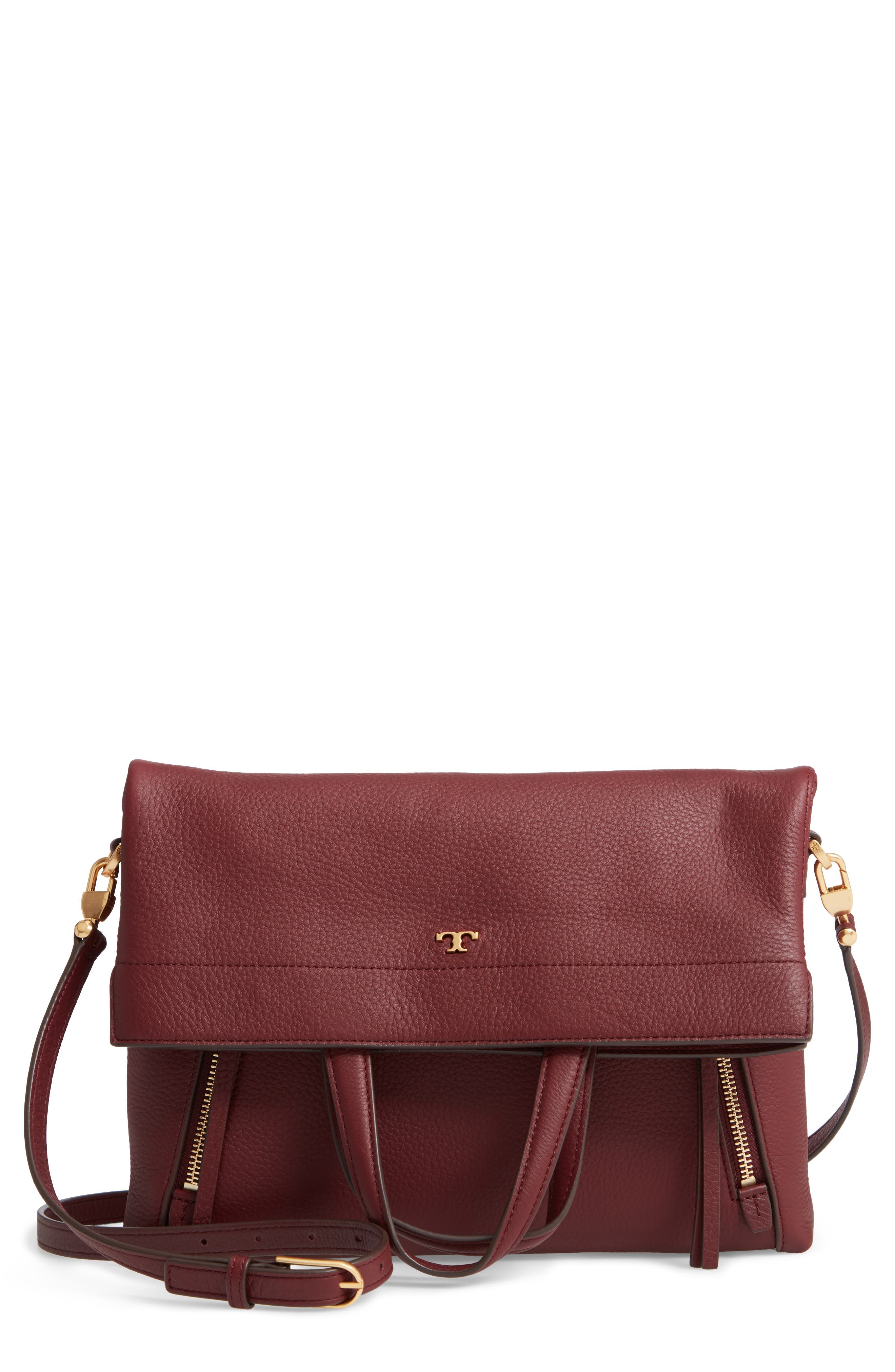 Half Moon Convertible Crossbody Bag,                             Main thumbnail 1, color,                             CLARET