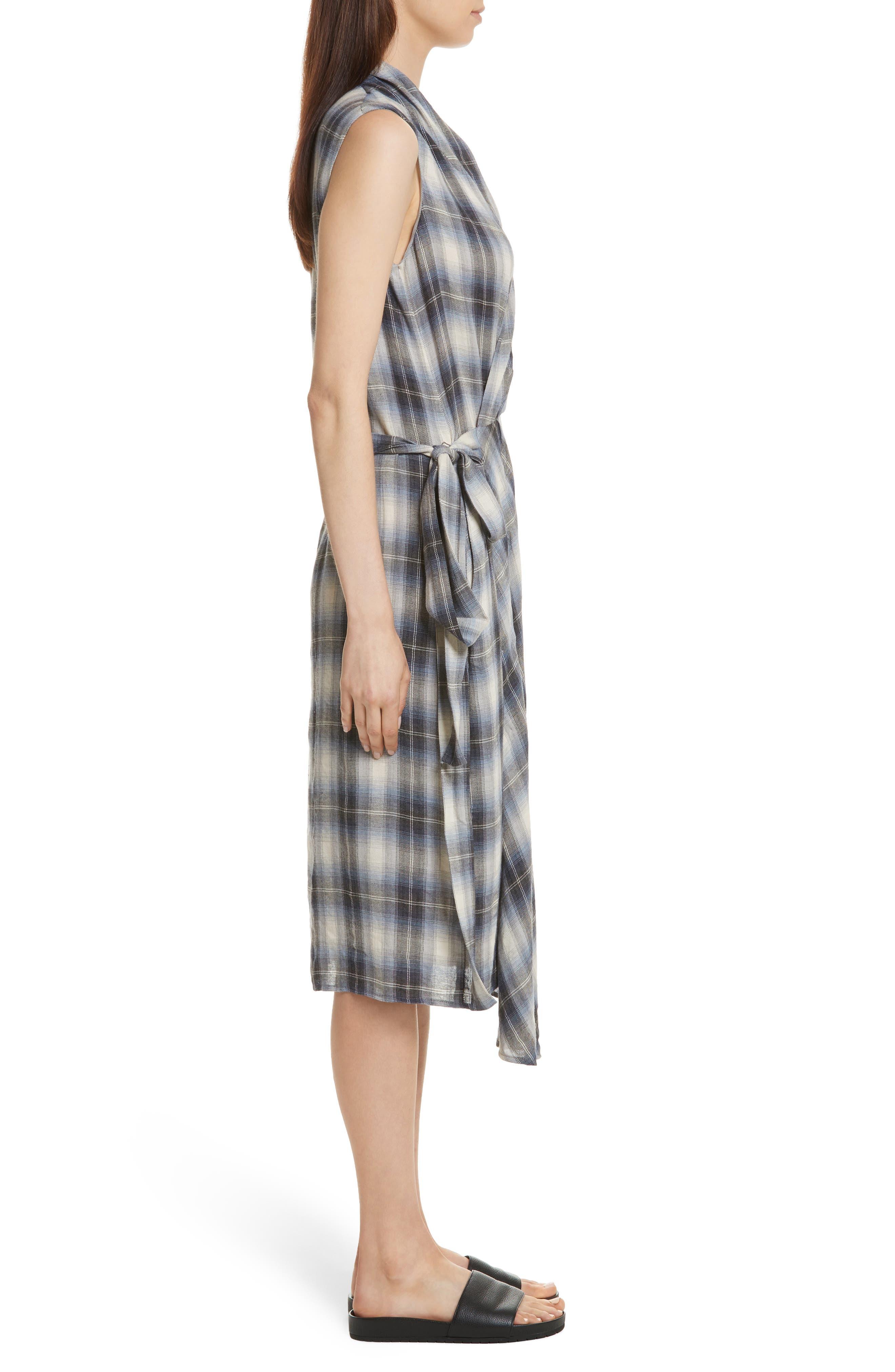 Shadow Plaid Sleeveless Wrap Dress,                             Alternate thumbnail 3, color,                             409