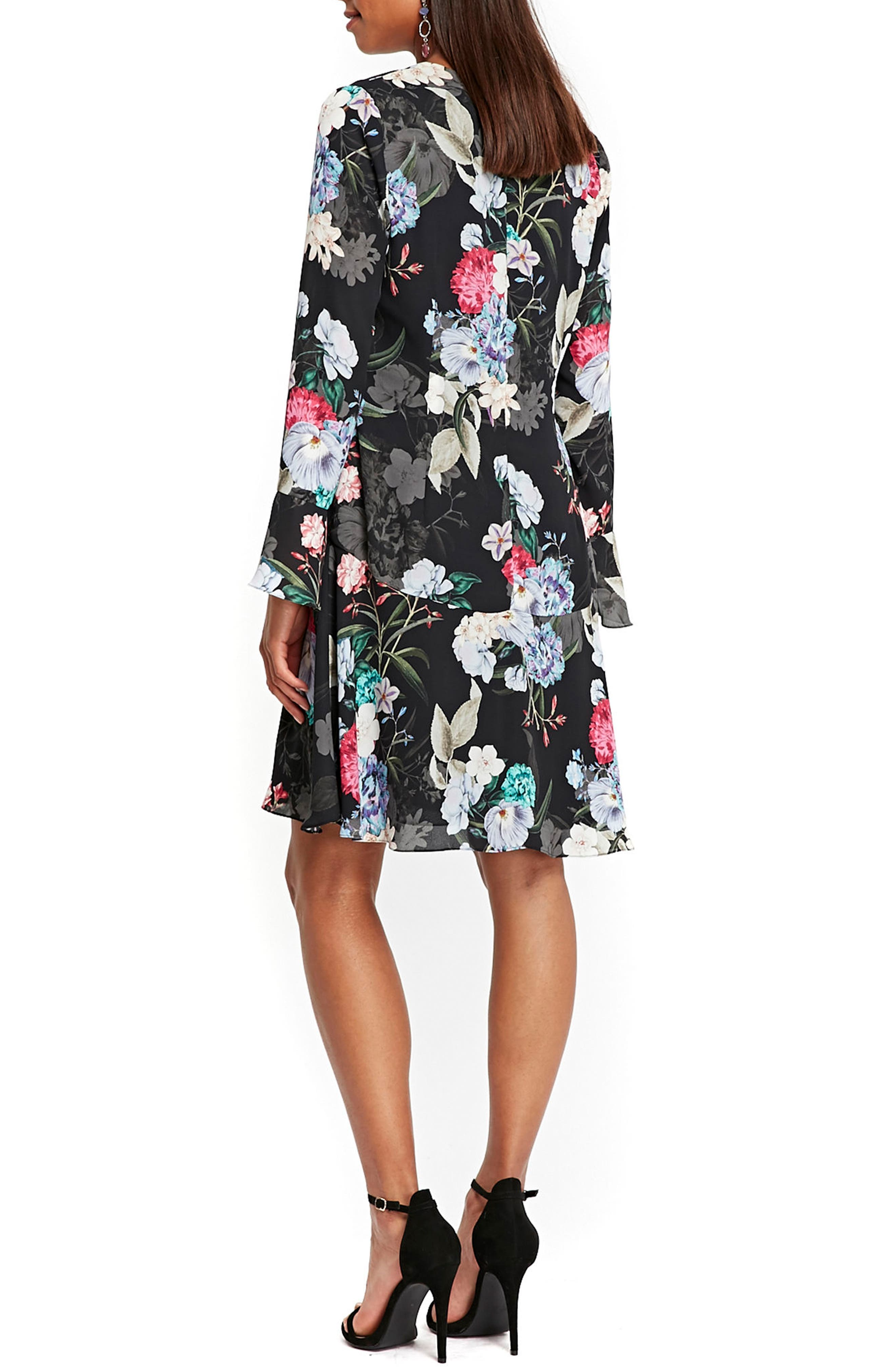 Drop Waist Floral Print Dress,                             Alternate thumbnail 2, color,                             009