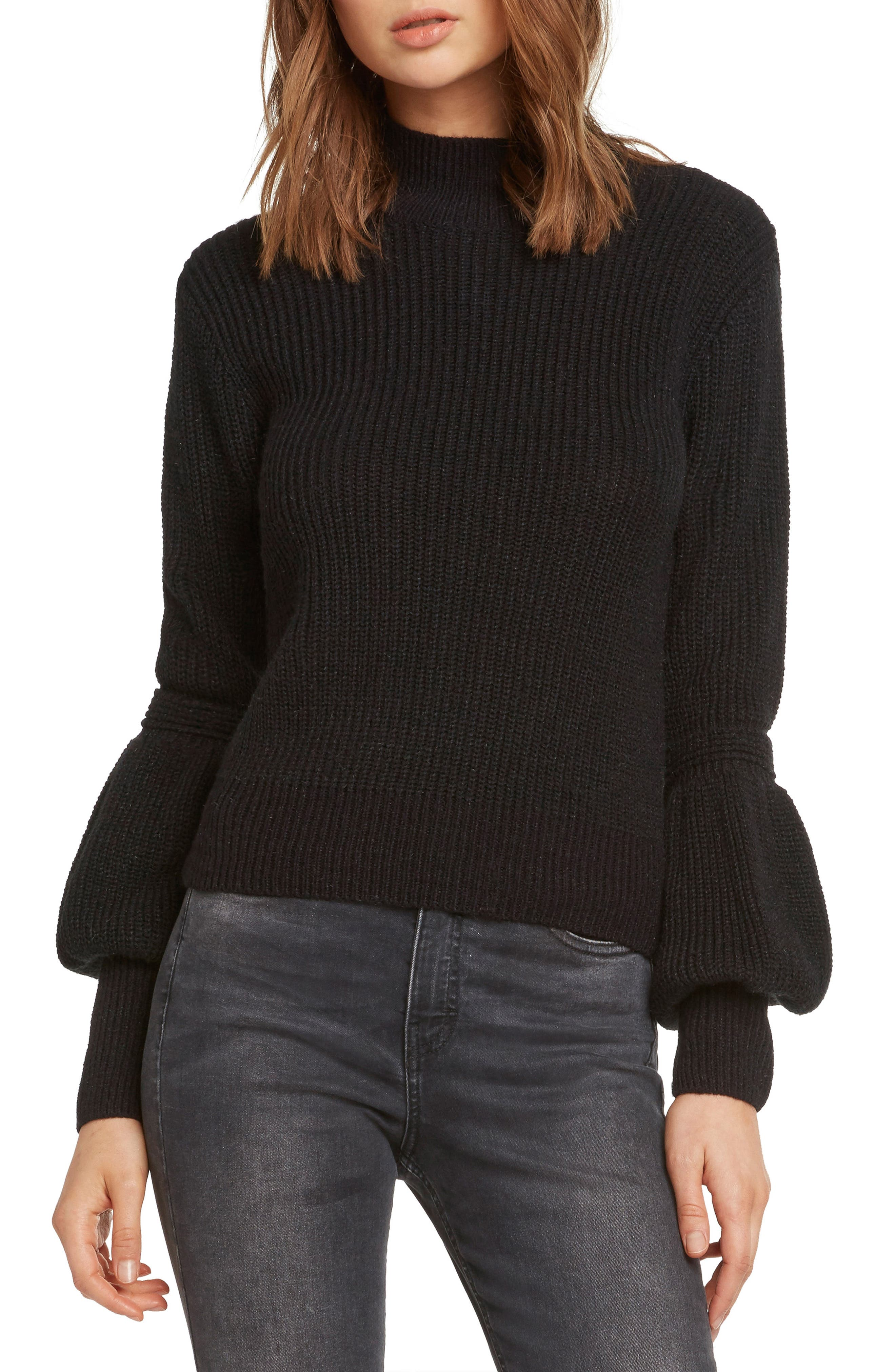 Bishop Sleeve Back Cutout Sweater,                         Main,                         color, BLACK