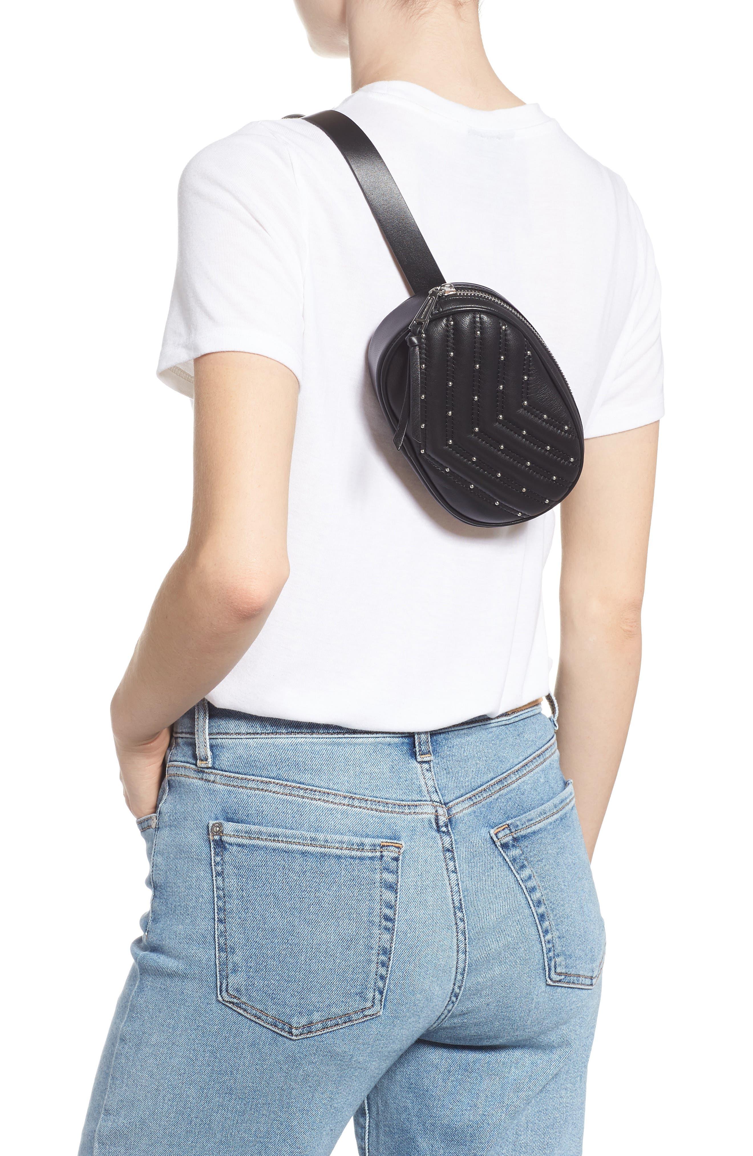 Montse Quilted Leather Belt Beg,                             Alternate thumbnail 3, color,                             BLACK