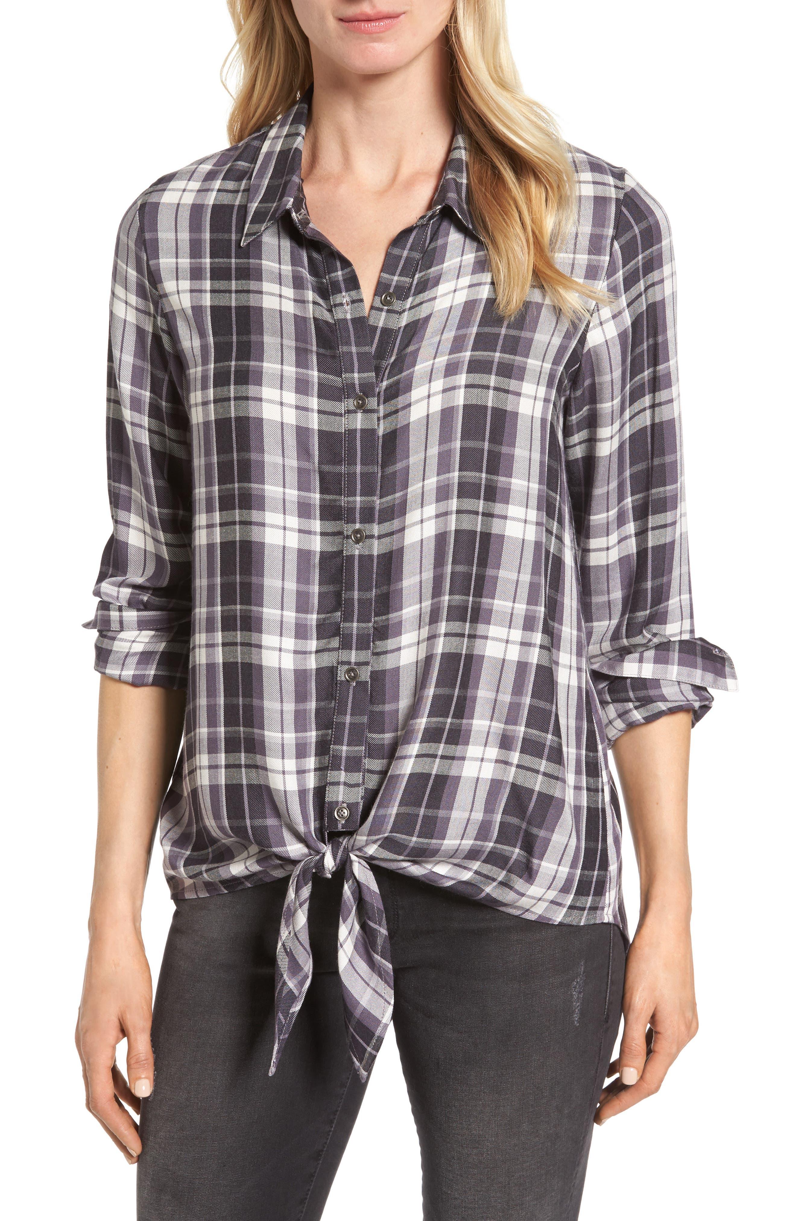 Tie Front Plaid Shirt, Main, color, 021