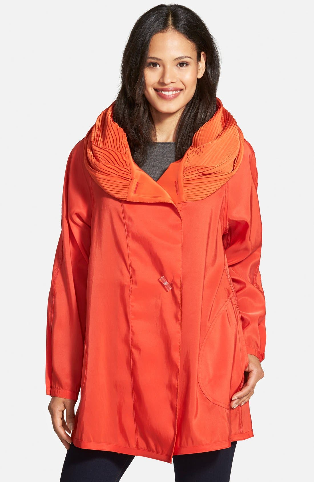'Mini Donatella' Reversible Pleat Hood Packable Travel Coat,                             Alternate thumbnail 30, color,