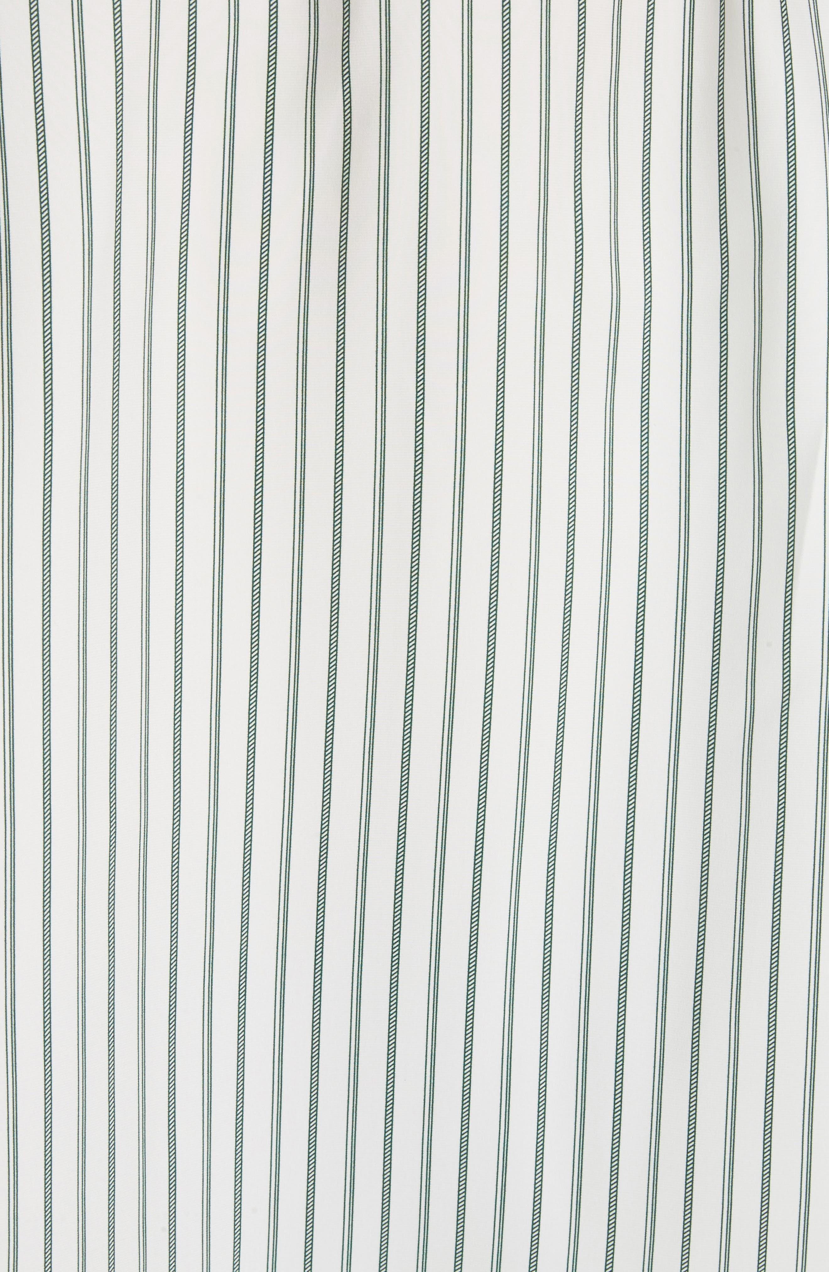 Stripe Silk Granddad Shirt,                             Alternate thumbnail 5, color,                             DARK GREEN/ OFF WHITE