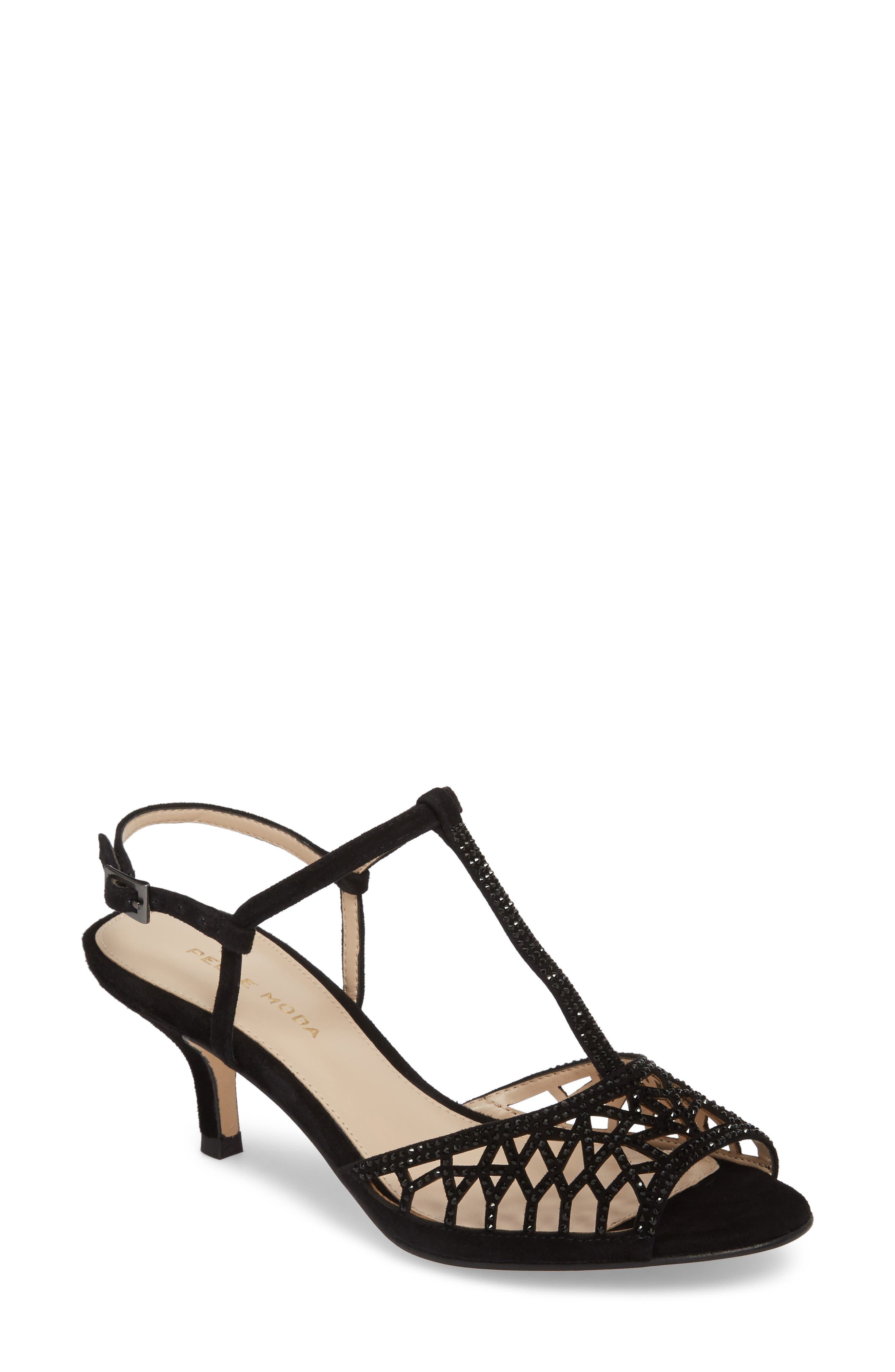 Adaline Embellished Sandal,                         Main,                         color, BLACK SUEDE