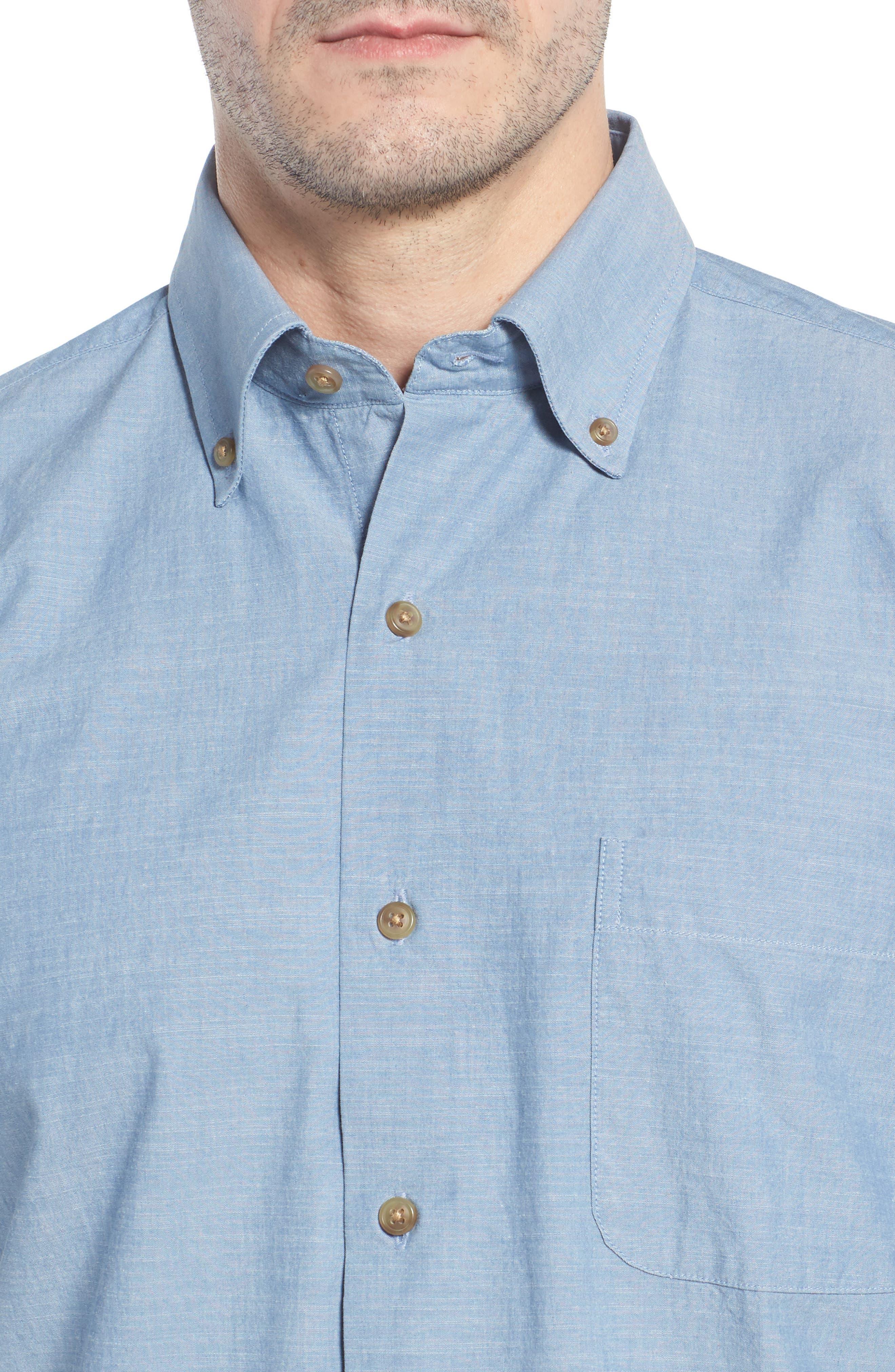 Heritage Chambray Sport Shirt,                             Alternate thumbnail 4, color,                             TAR HEEL BLUE