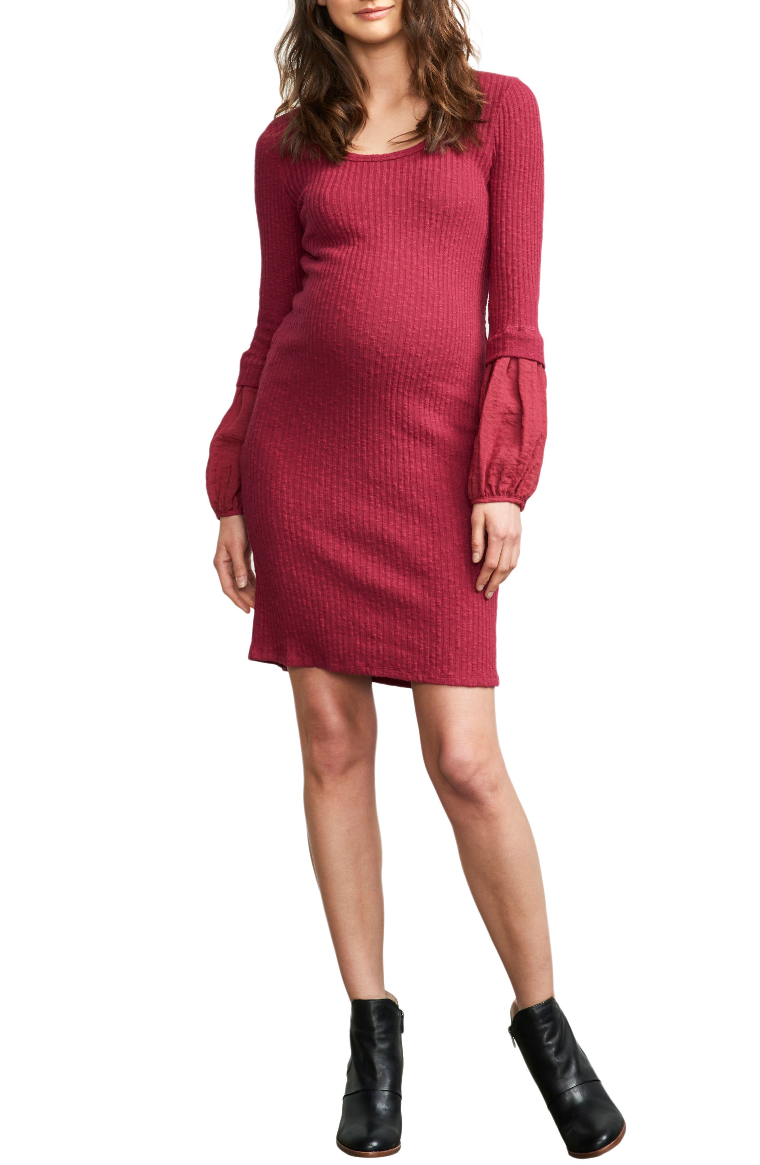 Poet Sleeve Ribbed Maternity Dress,                         Main,                         color, MAGENTA