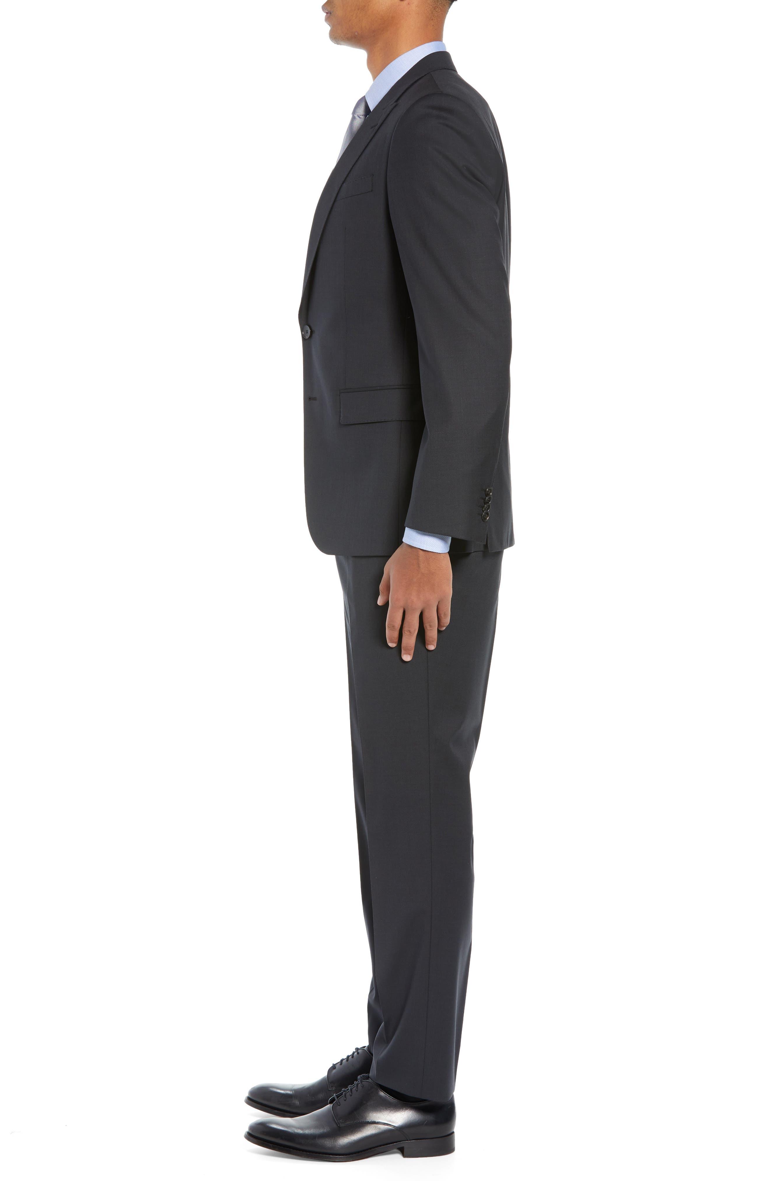 BOSS,                             Helward/Genius Trim Fit Solid Three Piece Wool Suit,                             Alternate thumbnail 4, color,                             DARK GREY